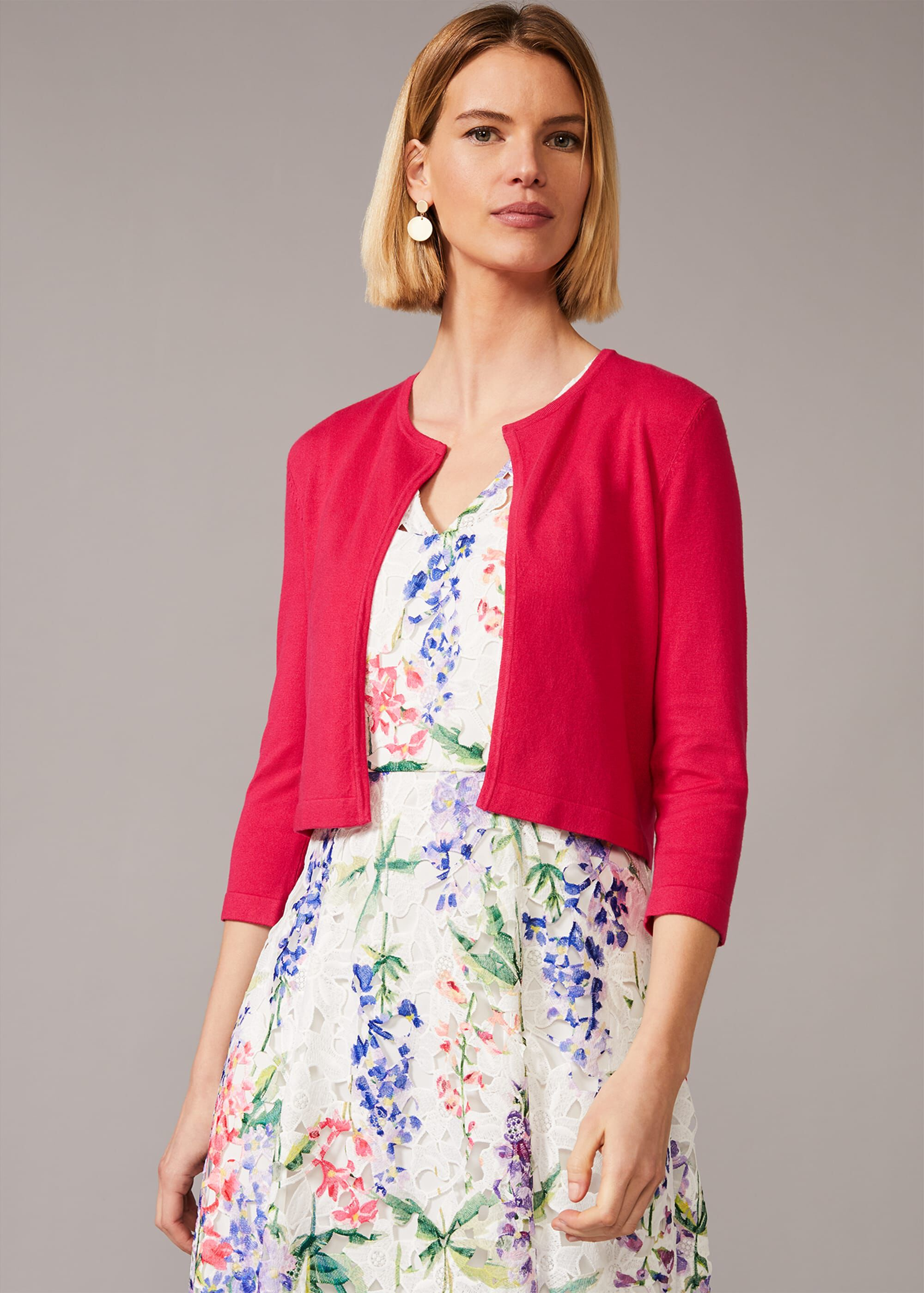 Phase Eight Catie Cropped Cardigan, Pink, Cardigan