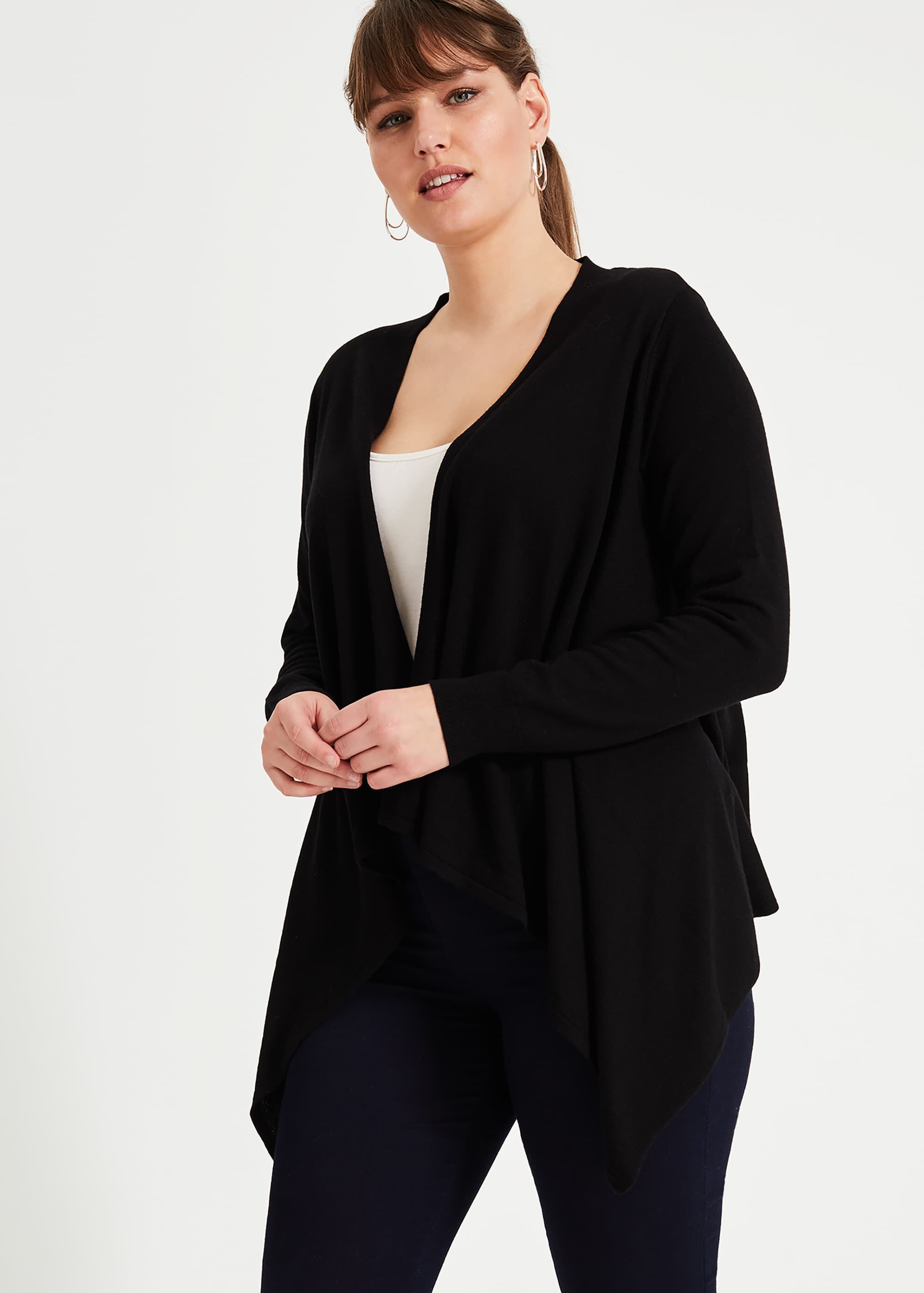 Studio 8 Freya Waterfall Cardigan, Black, Cardigan