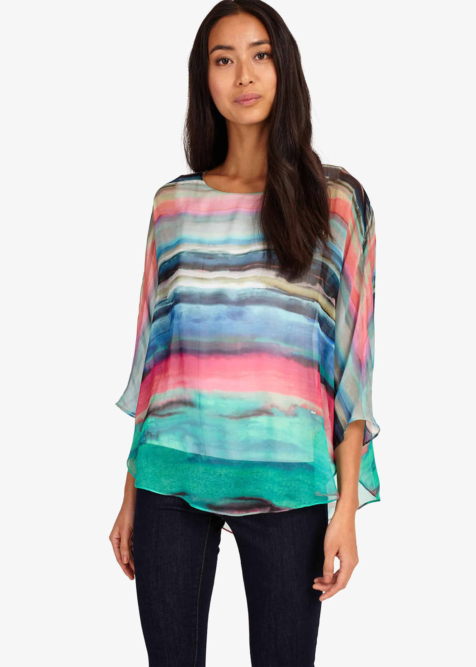 Phase Eight Nya Silk Blouse, Multicoloured, Blouse
