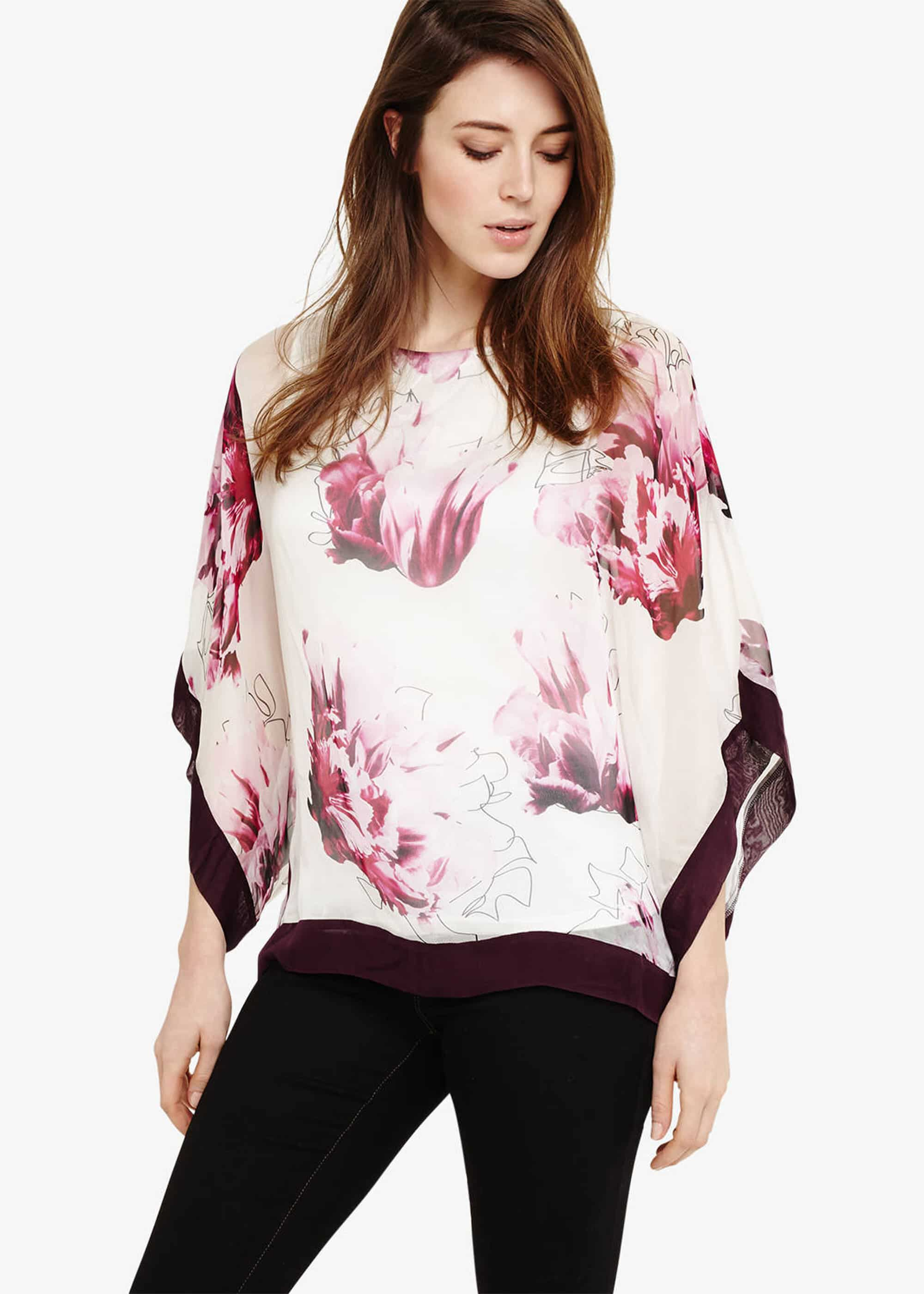 Phase Eight Peony Floral Silk Blouse, Purple, Blouse