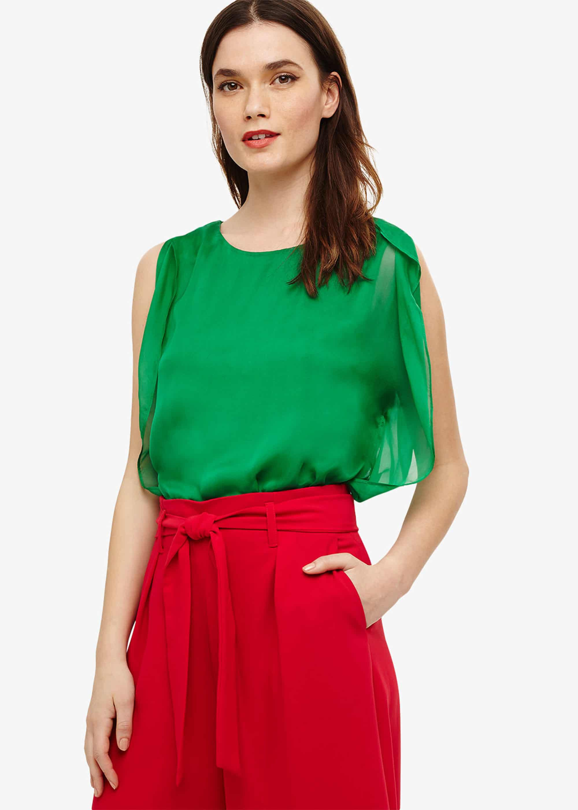 Phase Eight Angie Silk Angel Sleeve Blouse, Green, Blouse