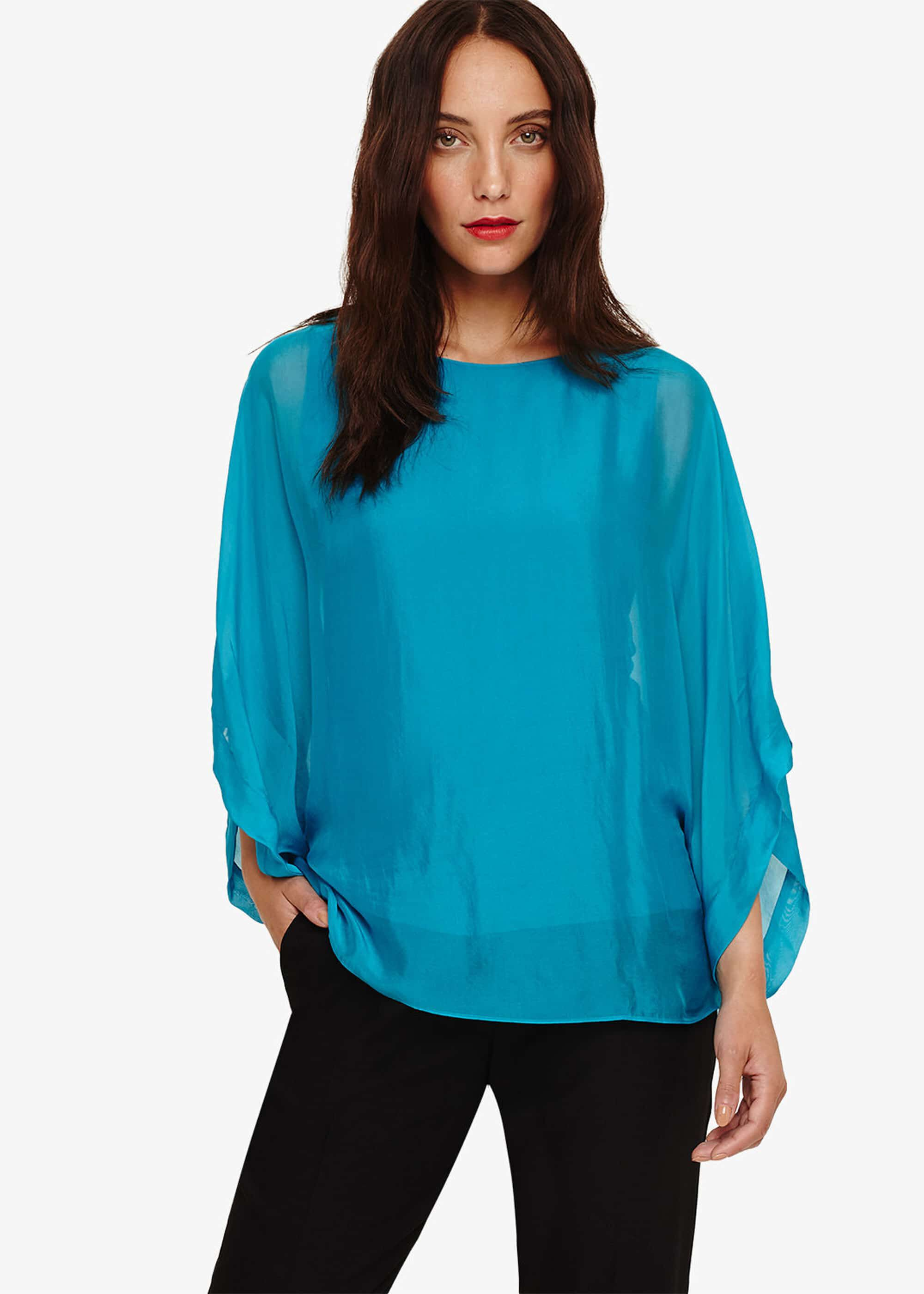 Phase Eight Fabia Silk Blend Blouse, Blue, Blouse