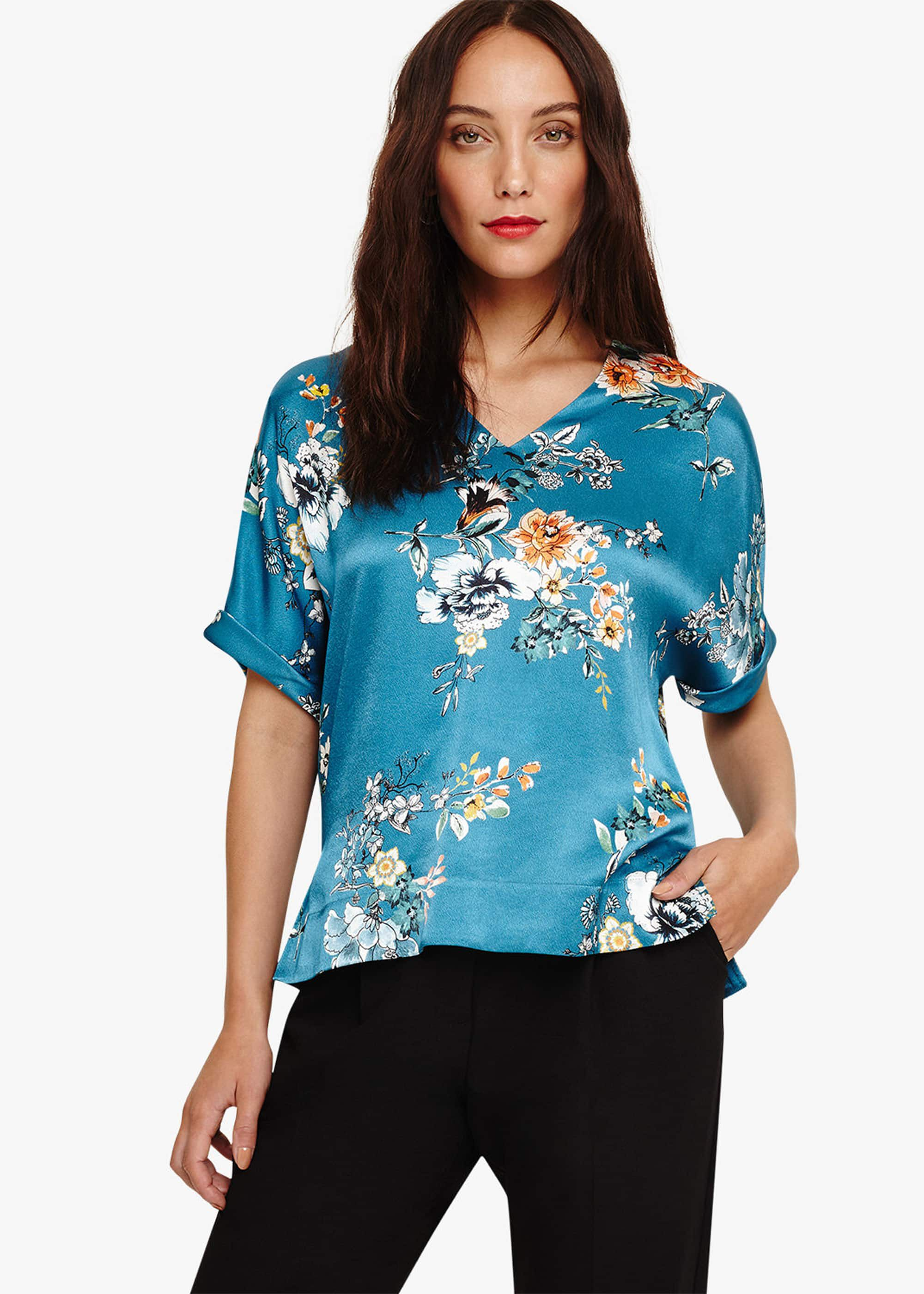 Blue Floral Sleeveless Tunic Shirt