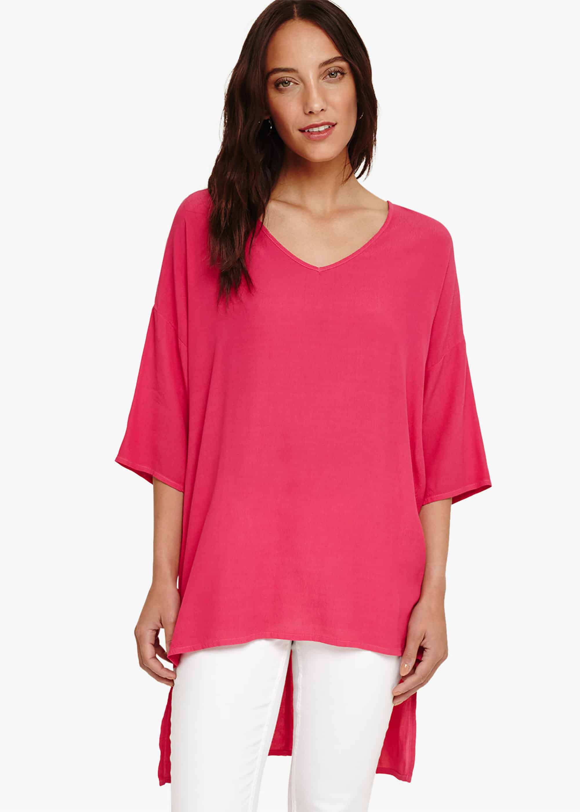 Phase Eight Britt Longline Blouse, Pink, Blouse