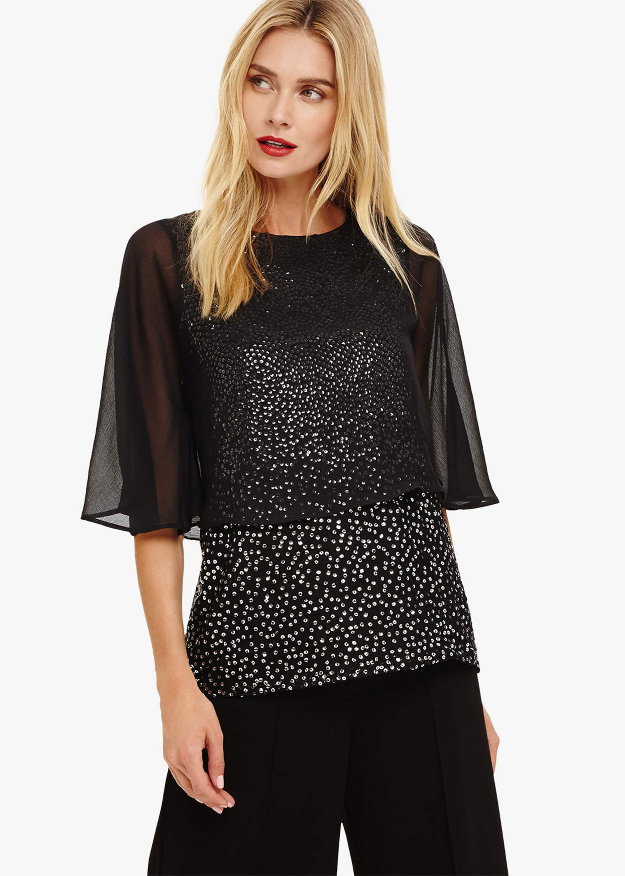 Phase Eight Iiona Double Layer Sequin Blouse, Black, Blouse