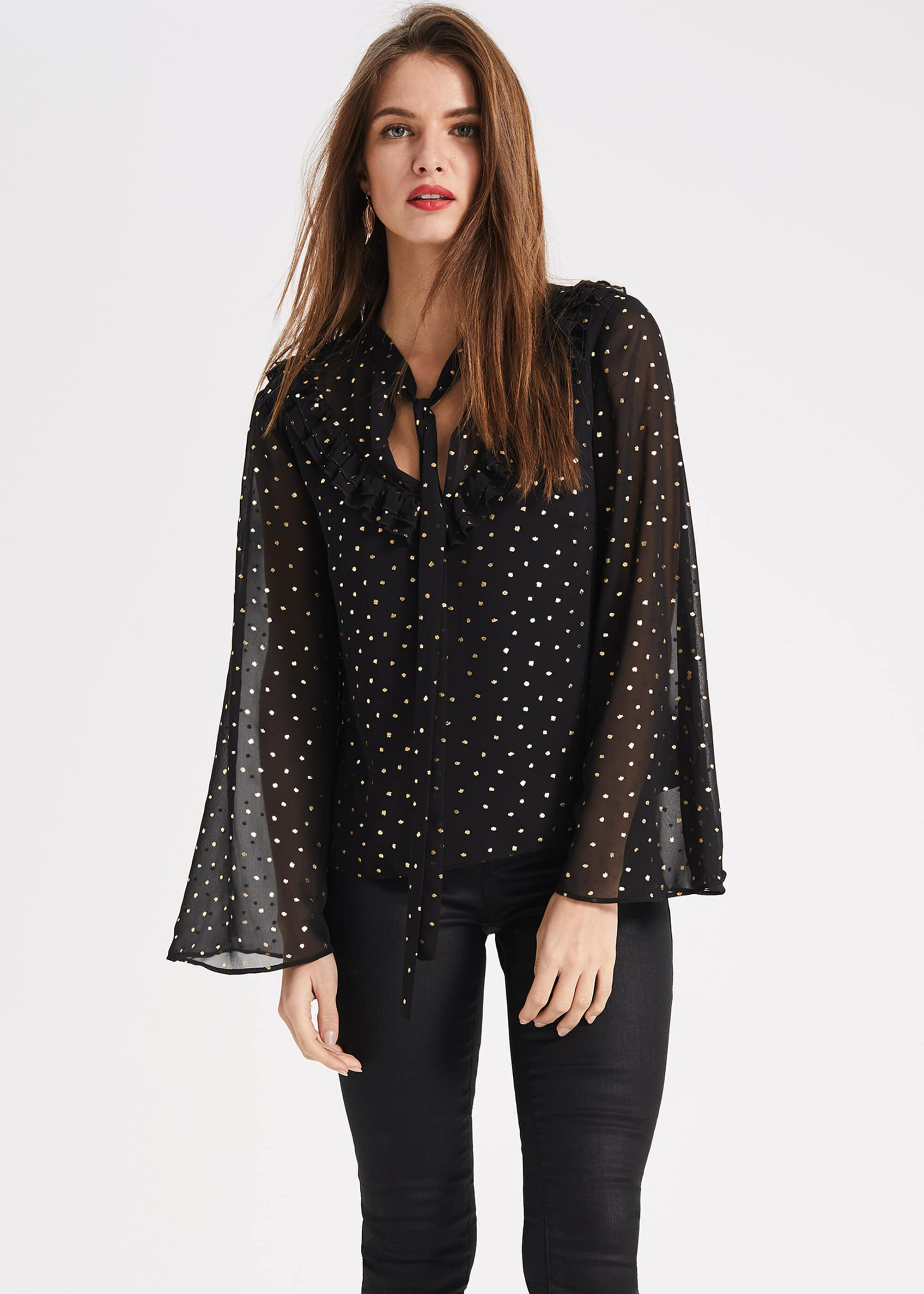 Phase Eight Pertunia Printed Blouse, Black, Blouse