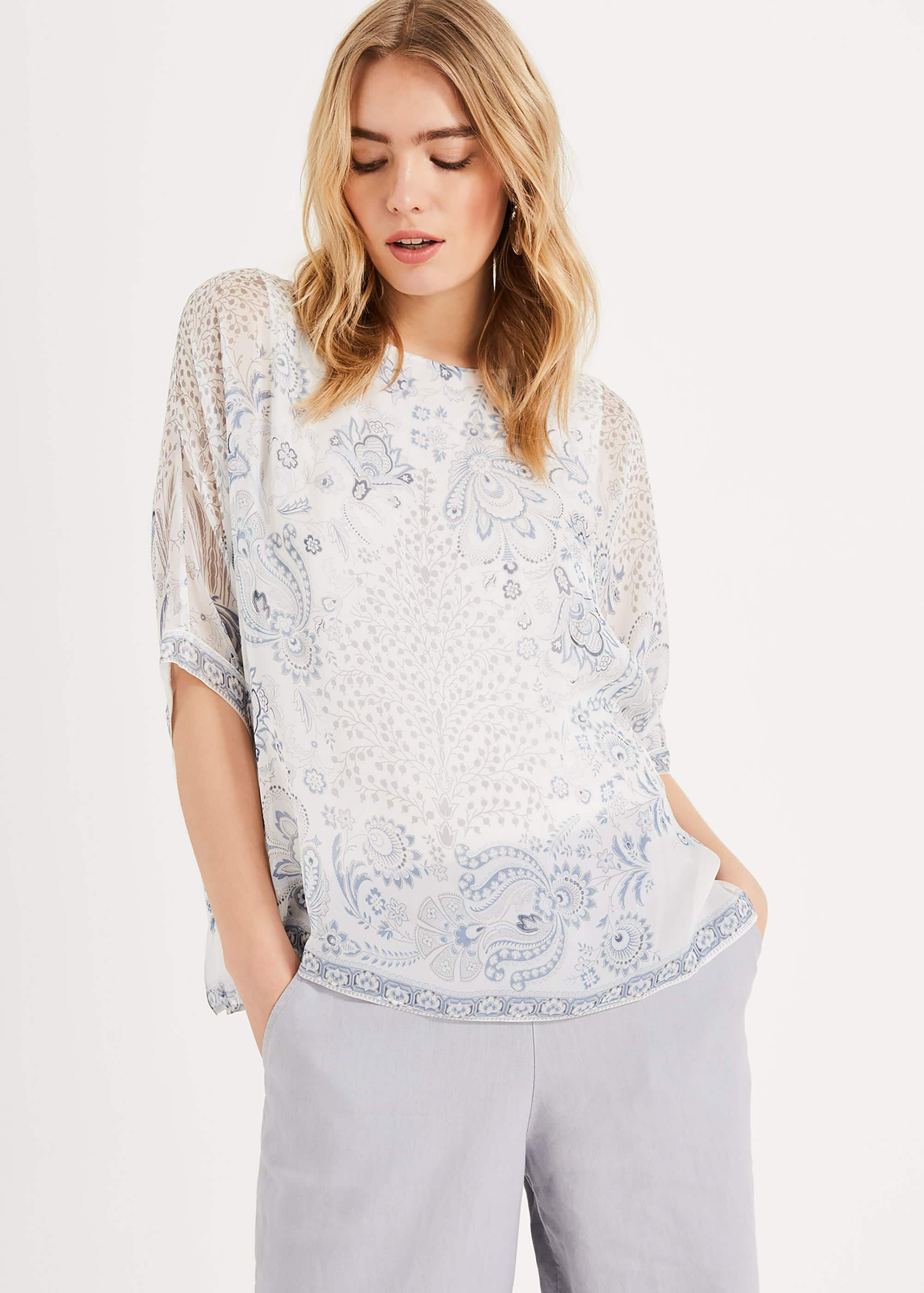 Phase Eight Ashanti Printed Silk Blouse, Cream, Blouse