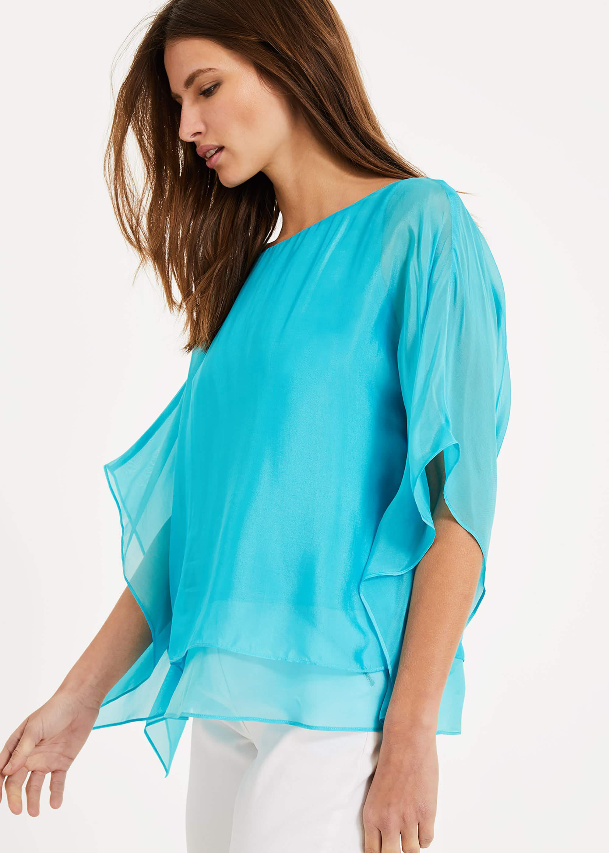 Phase Eight Belle-Rose Silk Blouse, Blue, Blouse