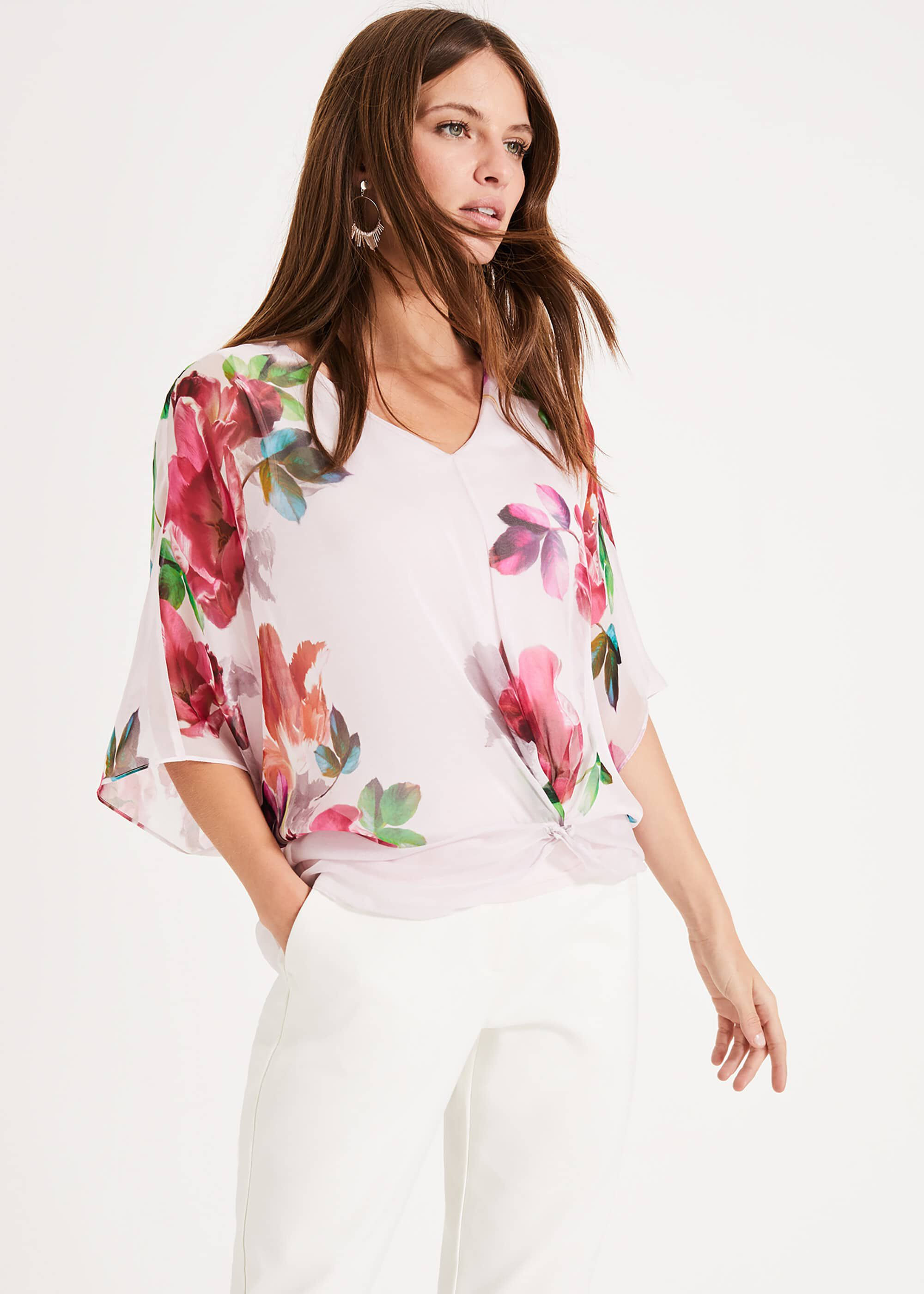 Phase Eight Adelle Floral Silk Blouse, Pink, Blouse