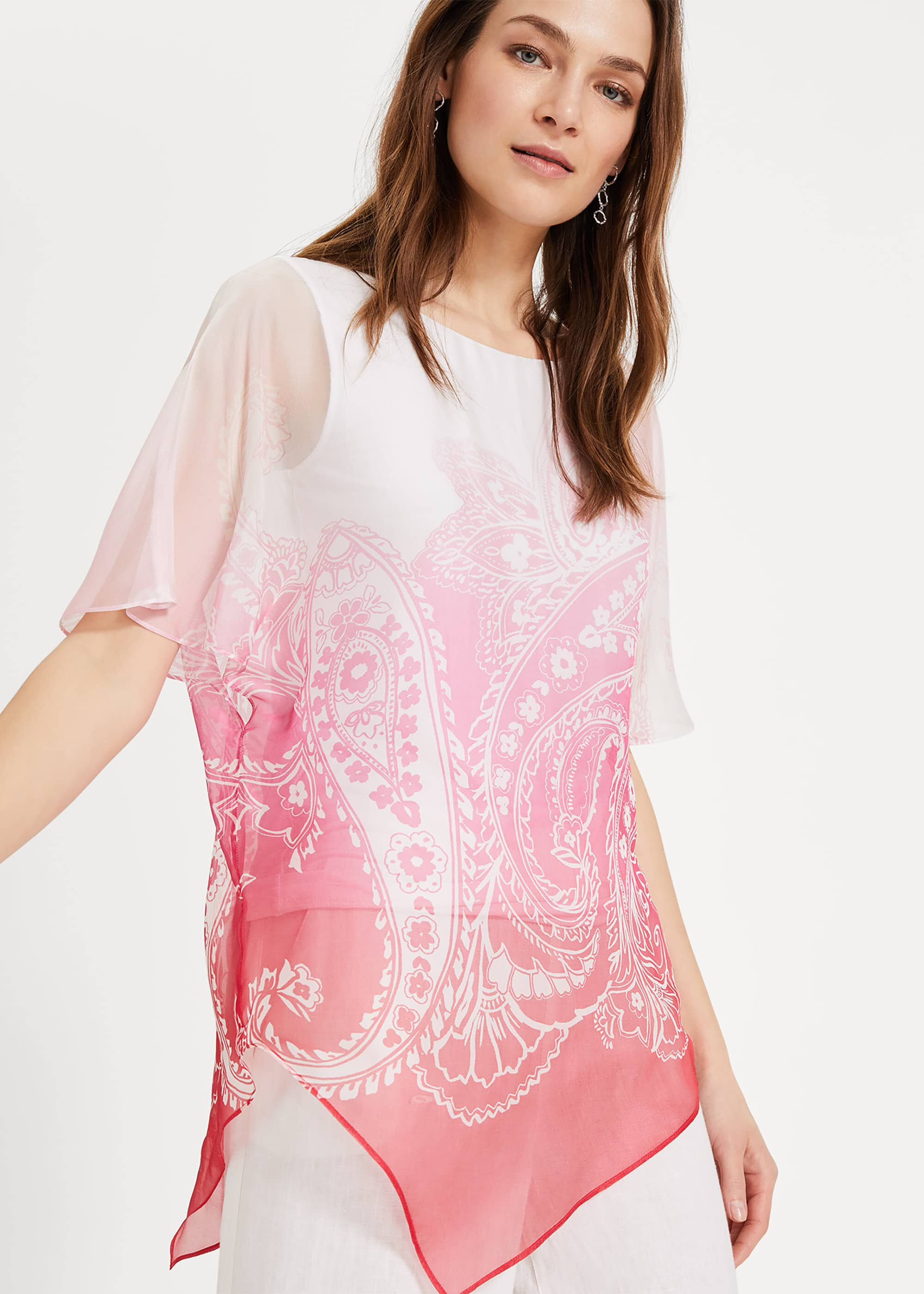 Phase Eight Paisley Silk Blouse, Pink, Blouse