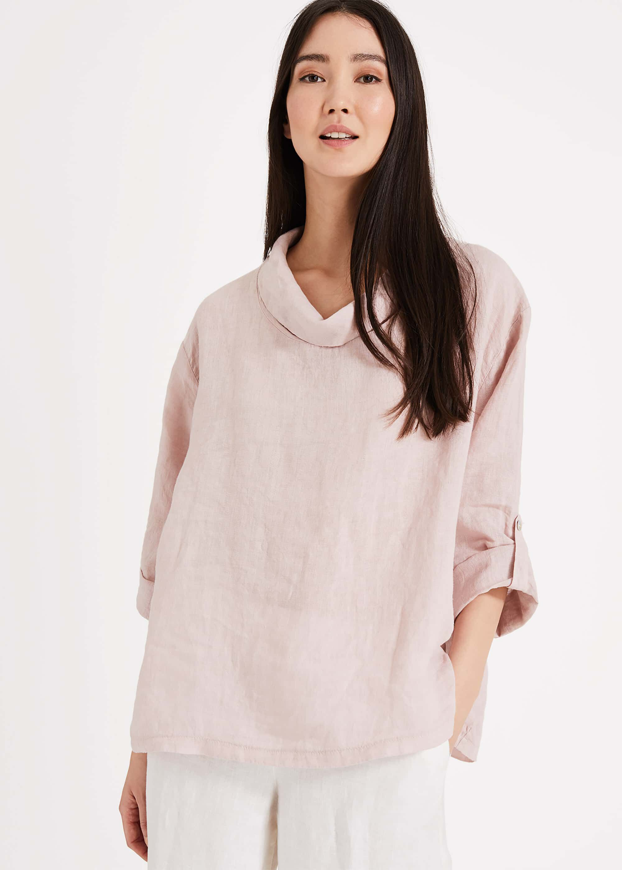Phase Eight Selwyn Linen Blouse, Pink, Blouse