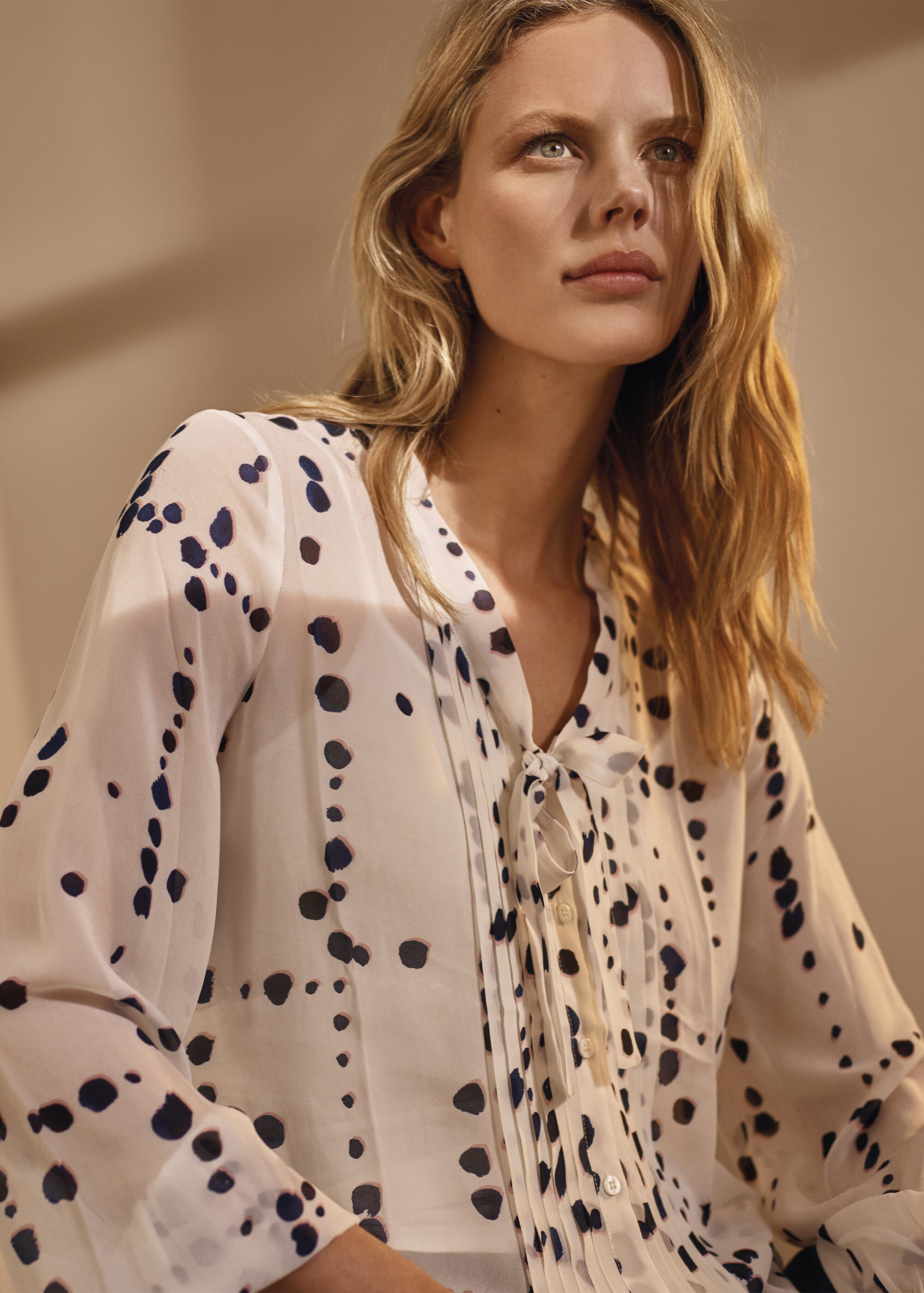 Phase Eight Bailey Spot Blouse, Cream, Blouse