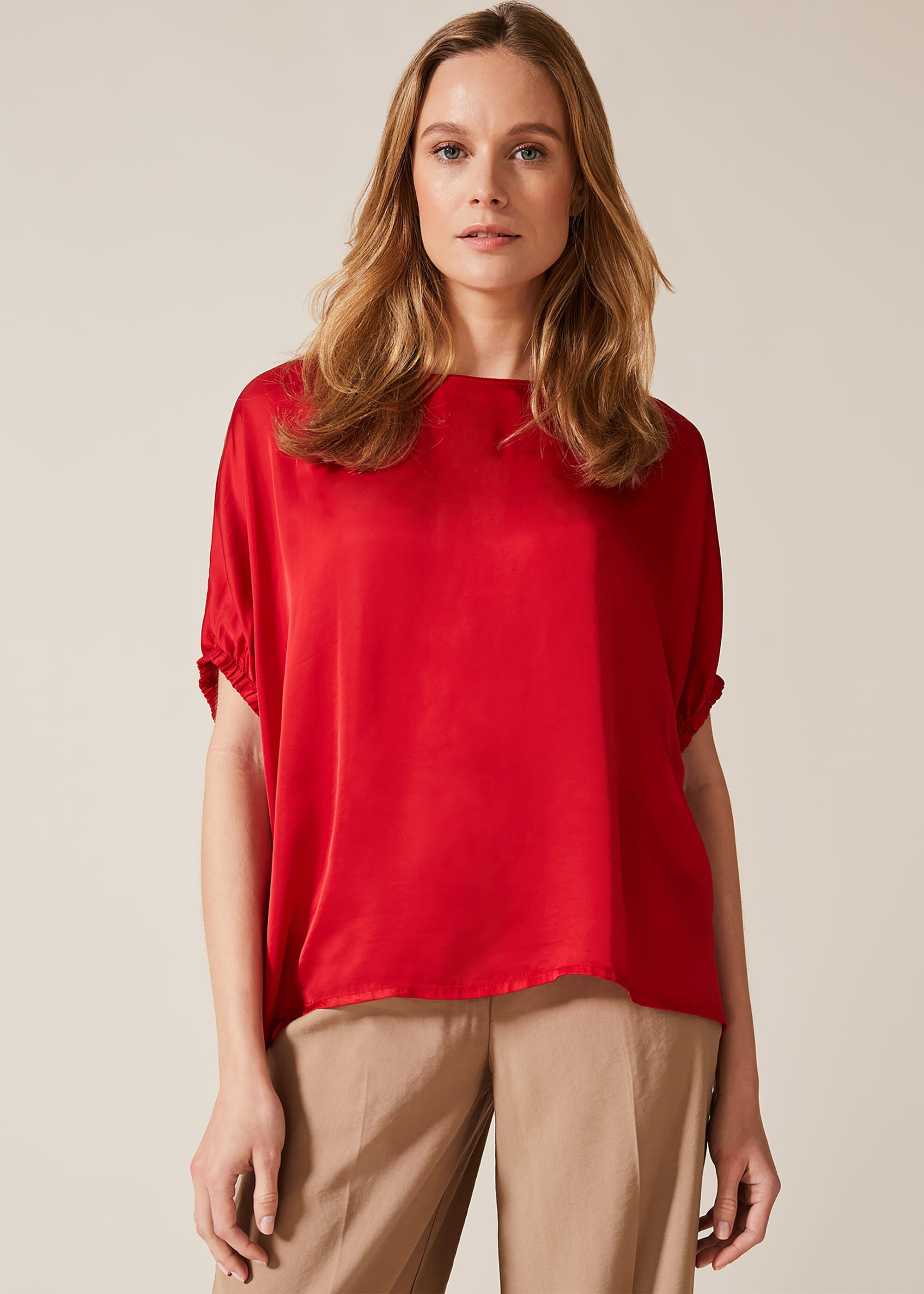 Phase Eight Jae Satin Blouse, Red, Blouse