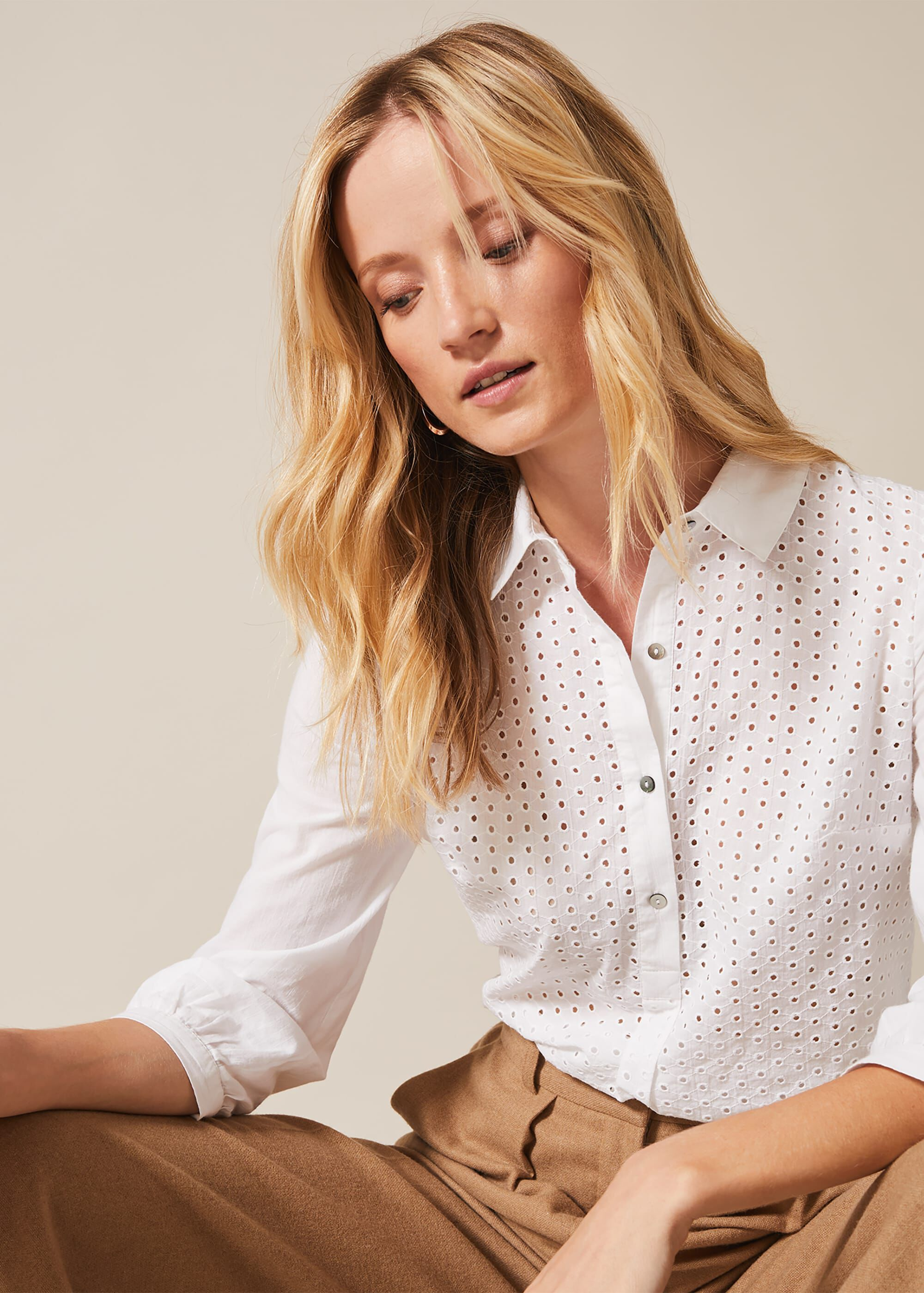 Phase Eight Beda Circle Broidery Blouse, Cream, Shirt