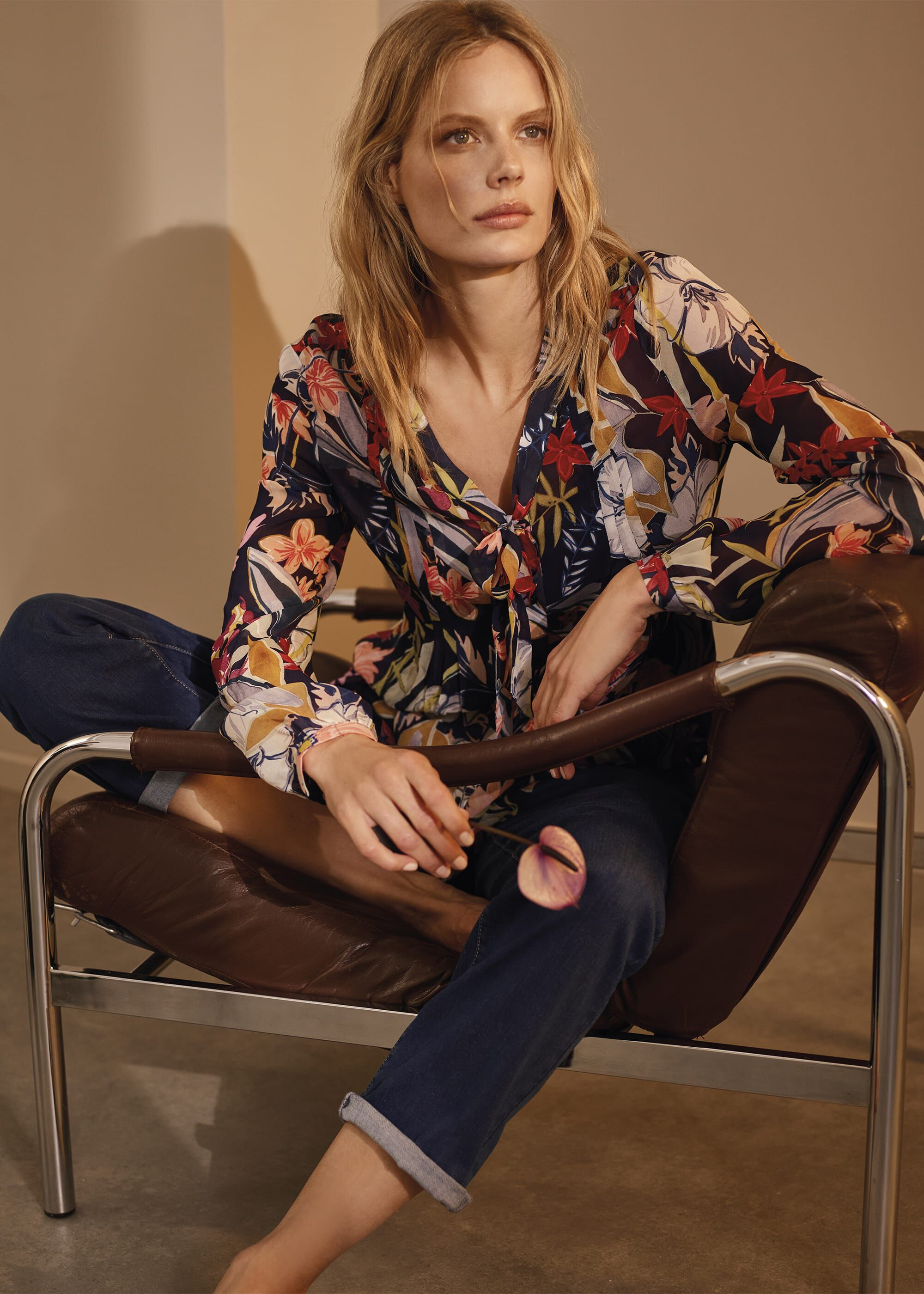 Phase Eight Ember Floral Chiffon Blouse, Multicoloured, Blouse