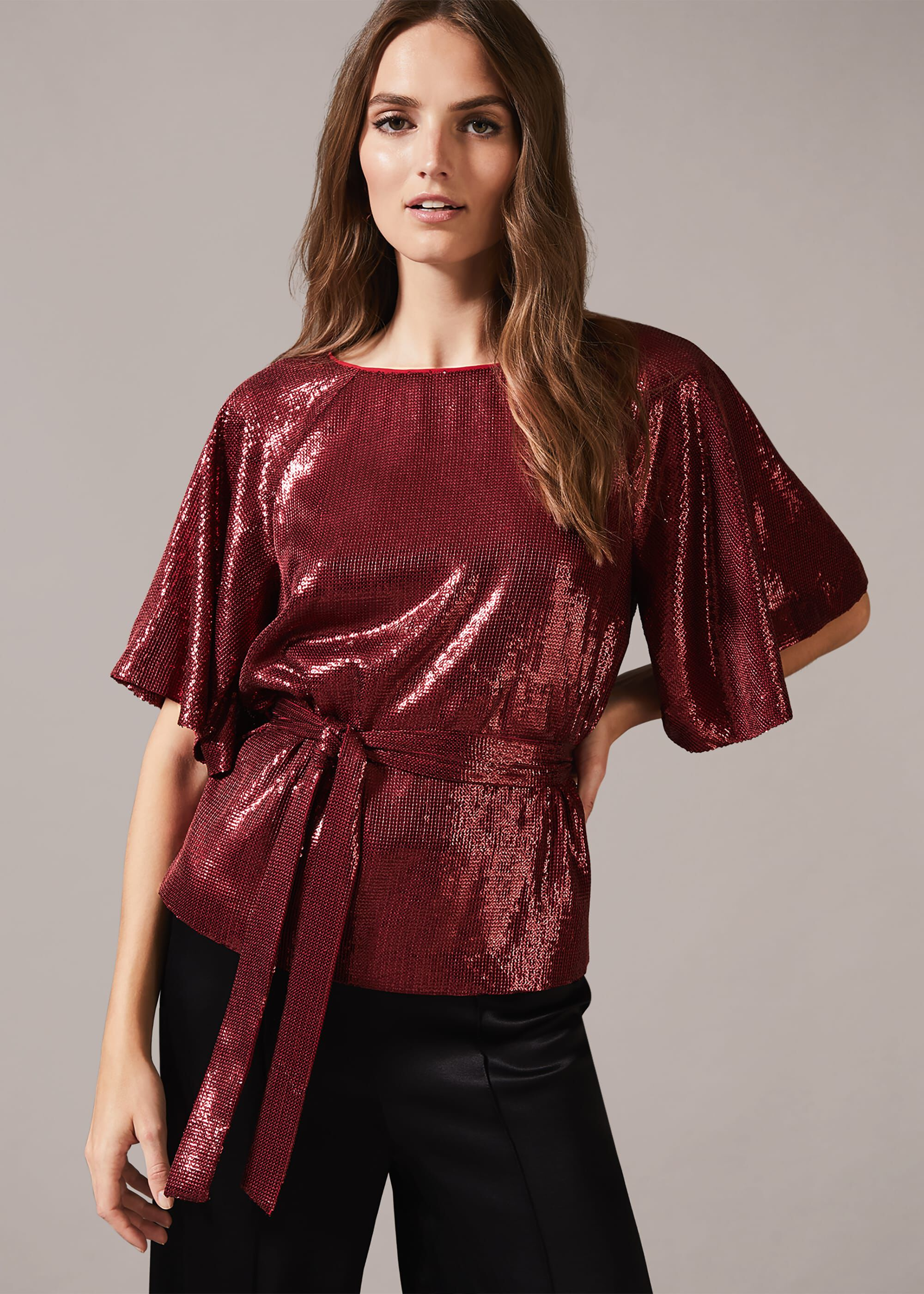 Phase Eight Kiera Sequin Wrap Top, Red, Blouse