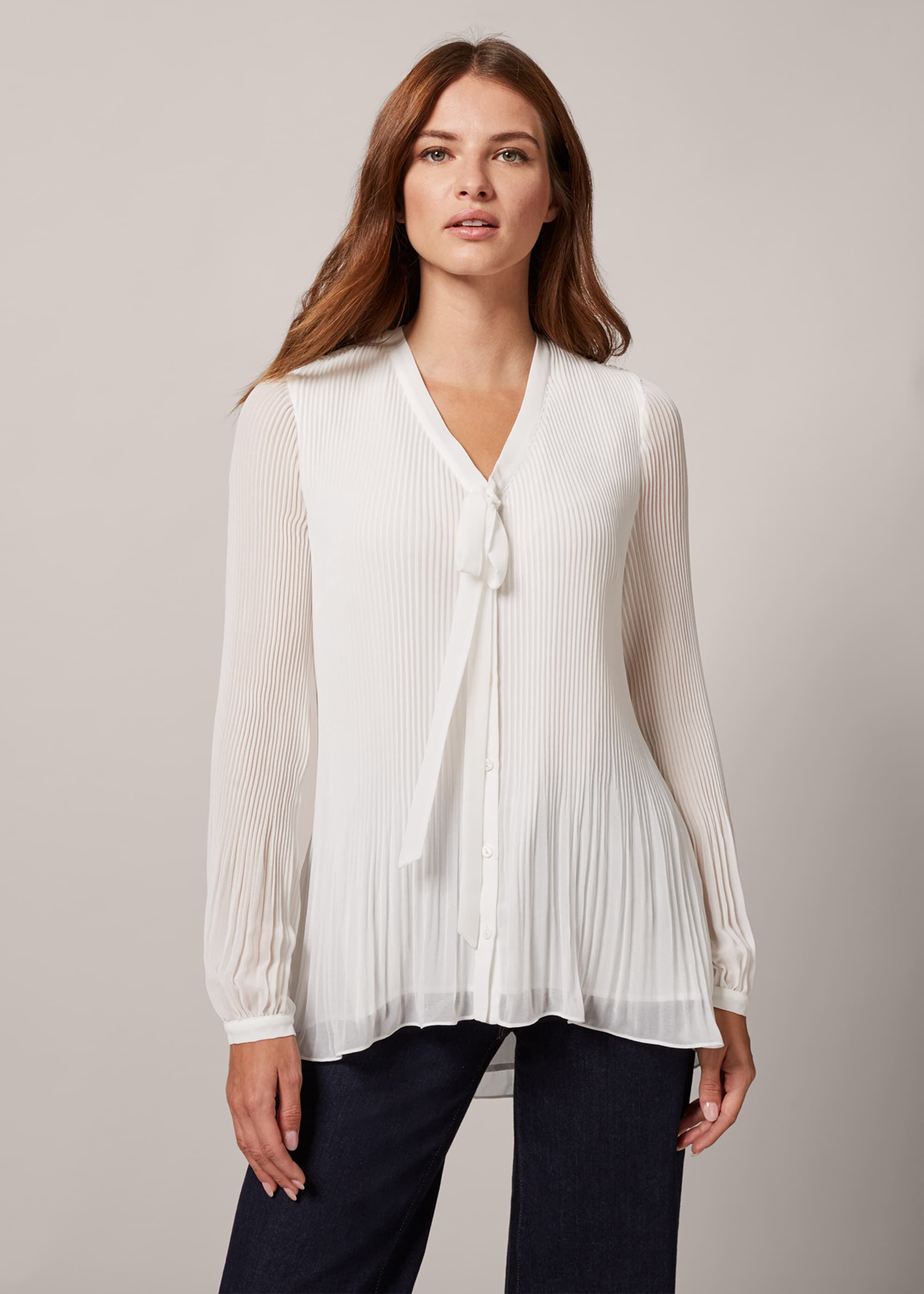 Phase Eight Lily-Beth Tie Pleat Blouse, Cream, Blouse