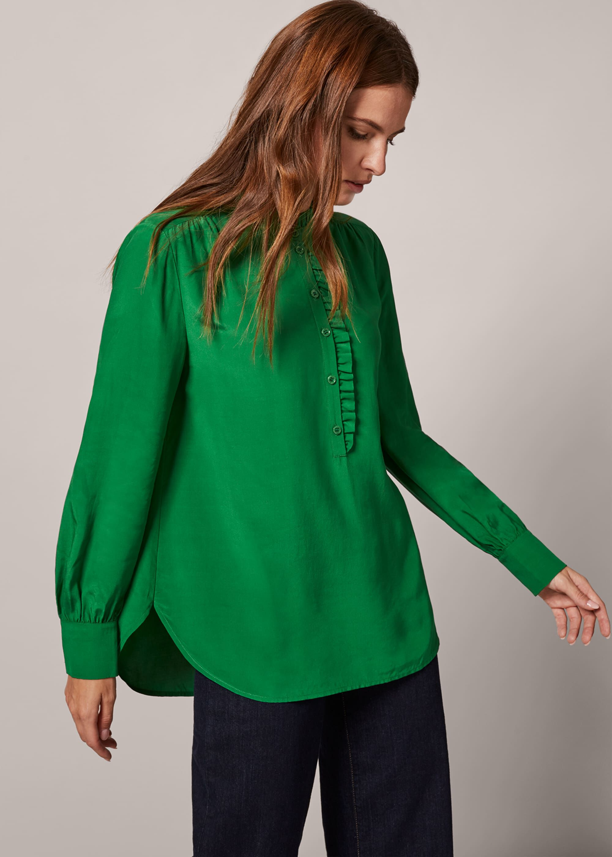 Phase Eight Loni Frill Blouse, Green, Blouse