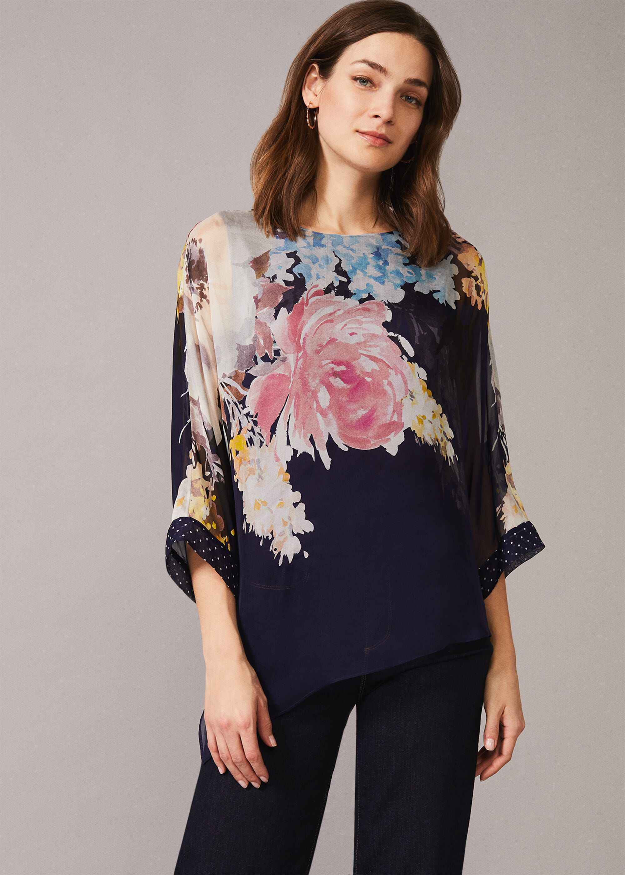 Phase Eight Blanche Floral Spot Silk Blouse, Blue, Blouse