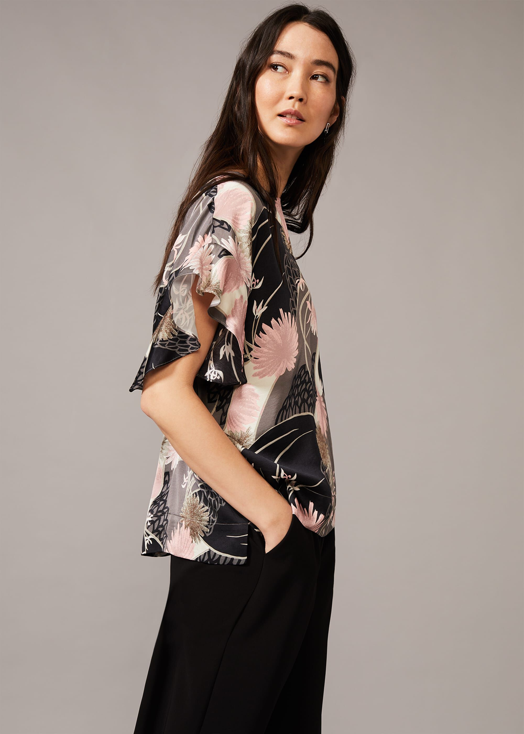 Phase Eight Kimiko Floral Frill Blouse, Multicoloured, Blouse