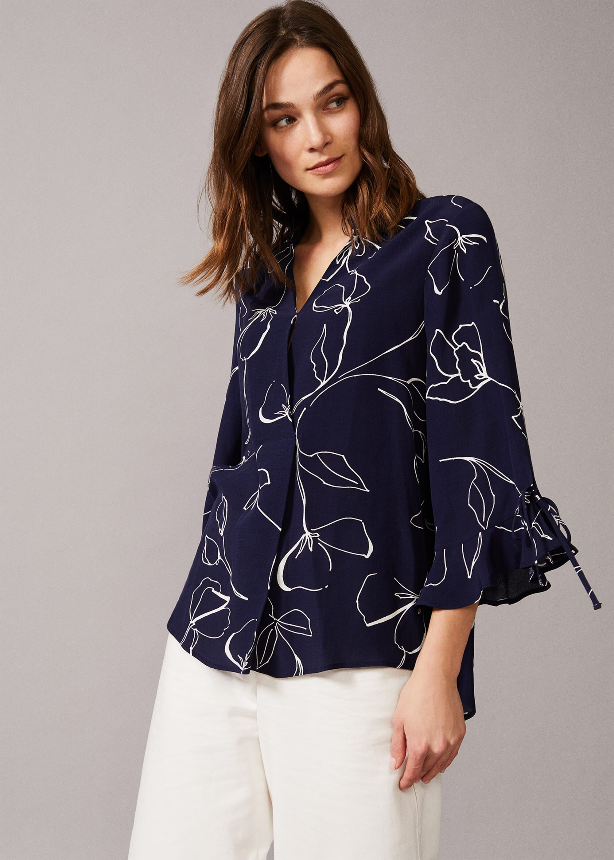 Phase Eight Linear Blouse, Blue, Blouse