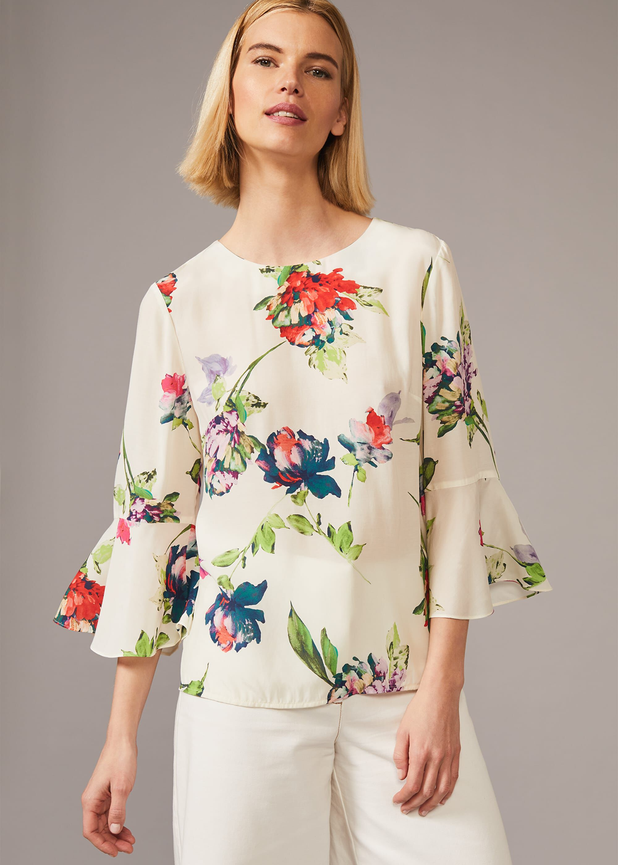 Phase Eight Ayara Floral Frill Sleeve Blouse, Cream, Blouse