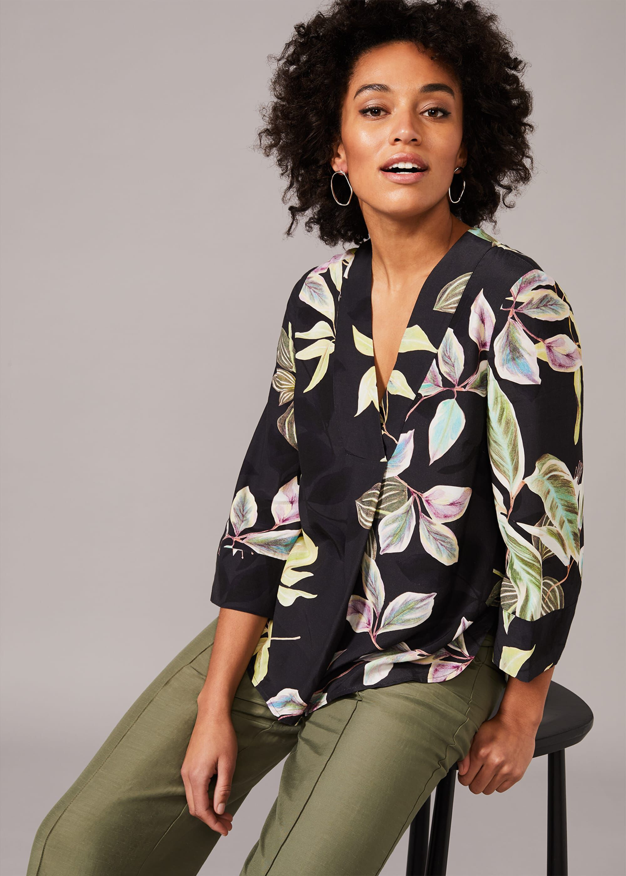 Phase Eight Hermy Floral Foldover Blouse, Blue, Default