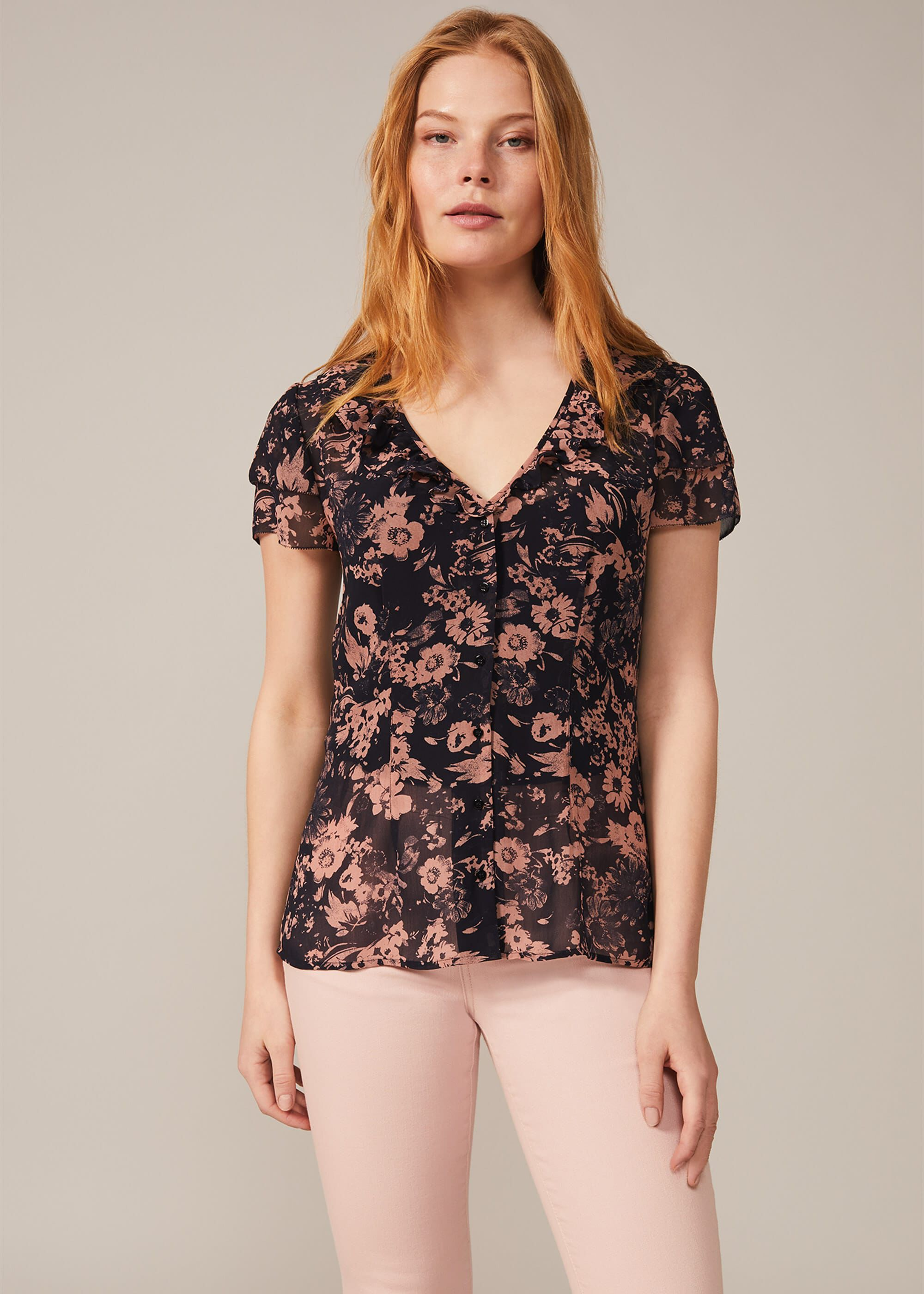 Phase Eight Verena Floral Chiffon Blouse, Blue, Blouse