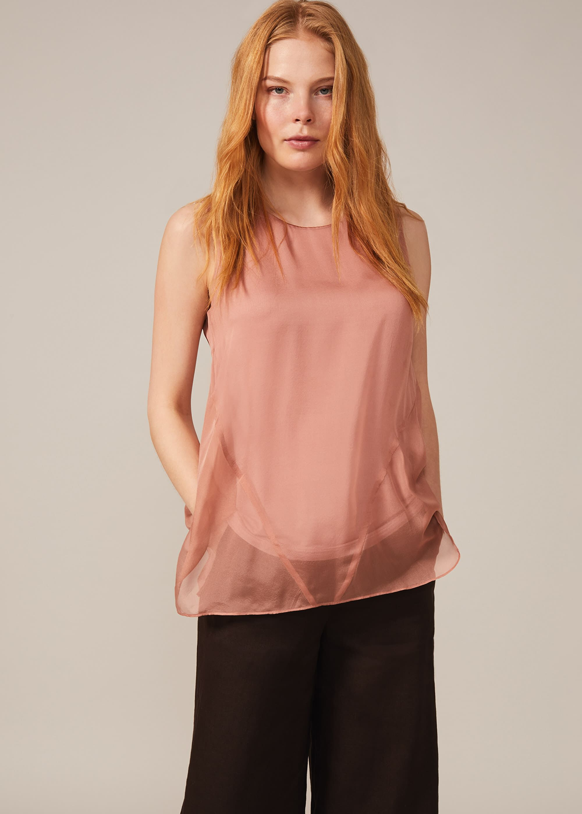 Phase Eight Leowa Silk Blouse, Pink, Blouse