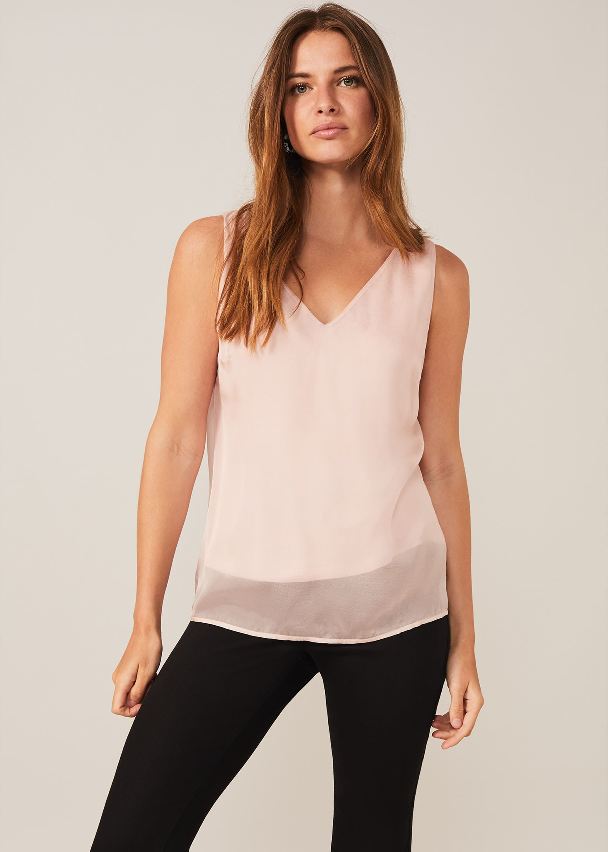 Phase Eight Silk Vest, Pink, Blouse