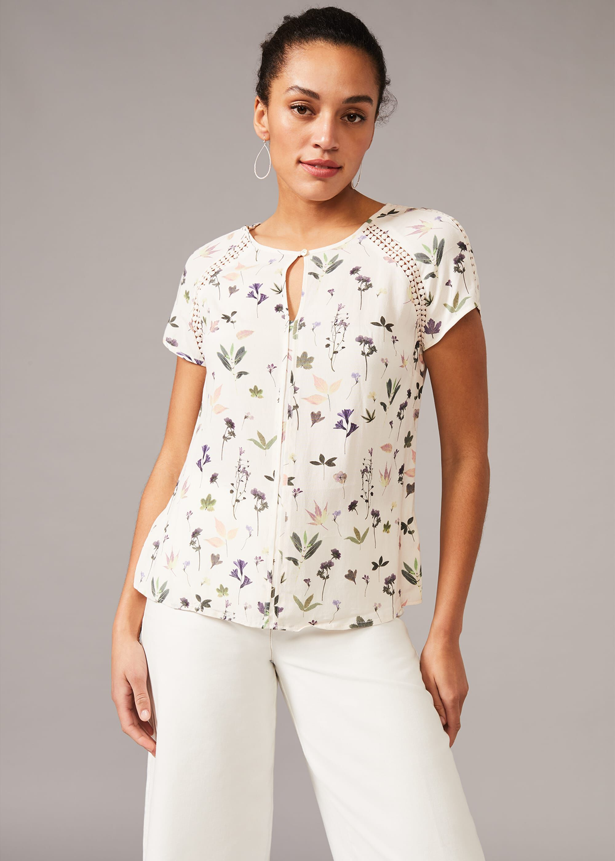 Phase Eight Cleo Floral Blouse, White, Blouse