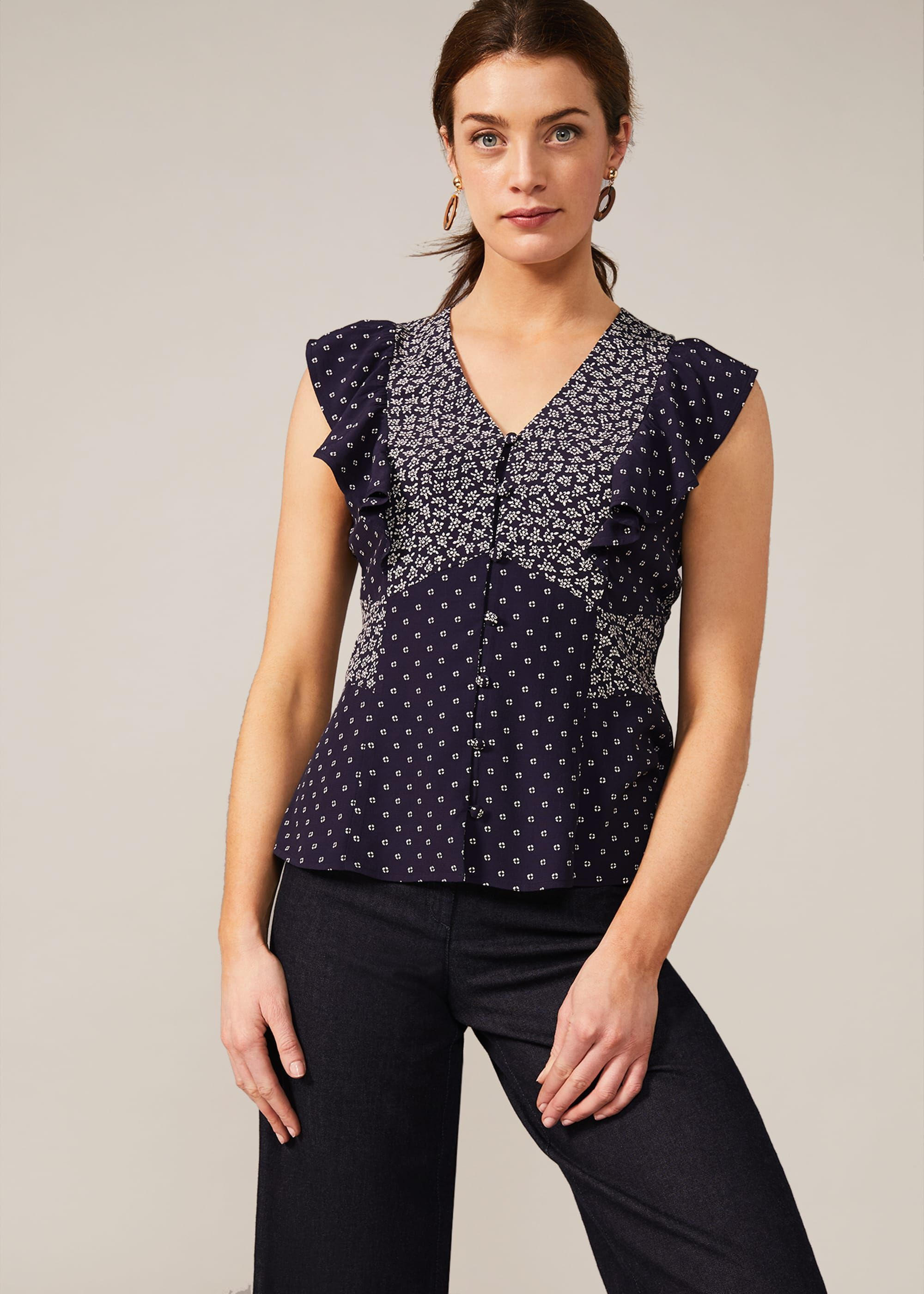 Phase Eight Riva Ditsy Floral Blouse, Blue, Blouse