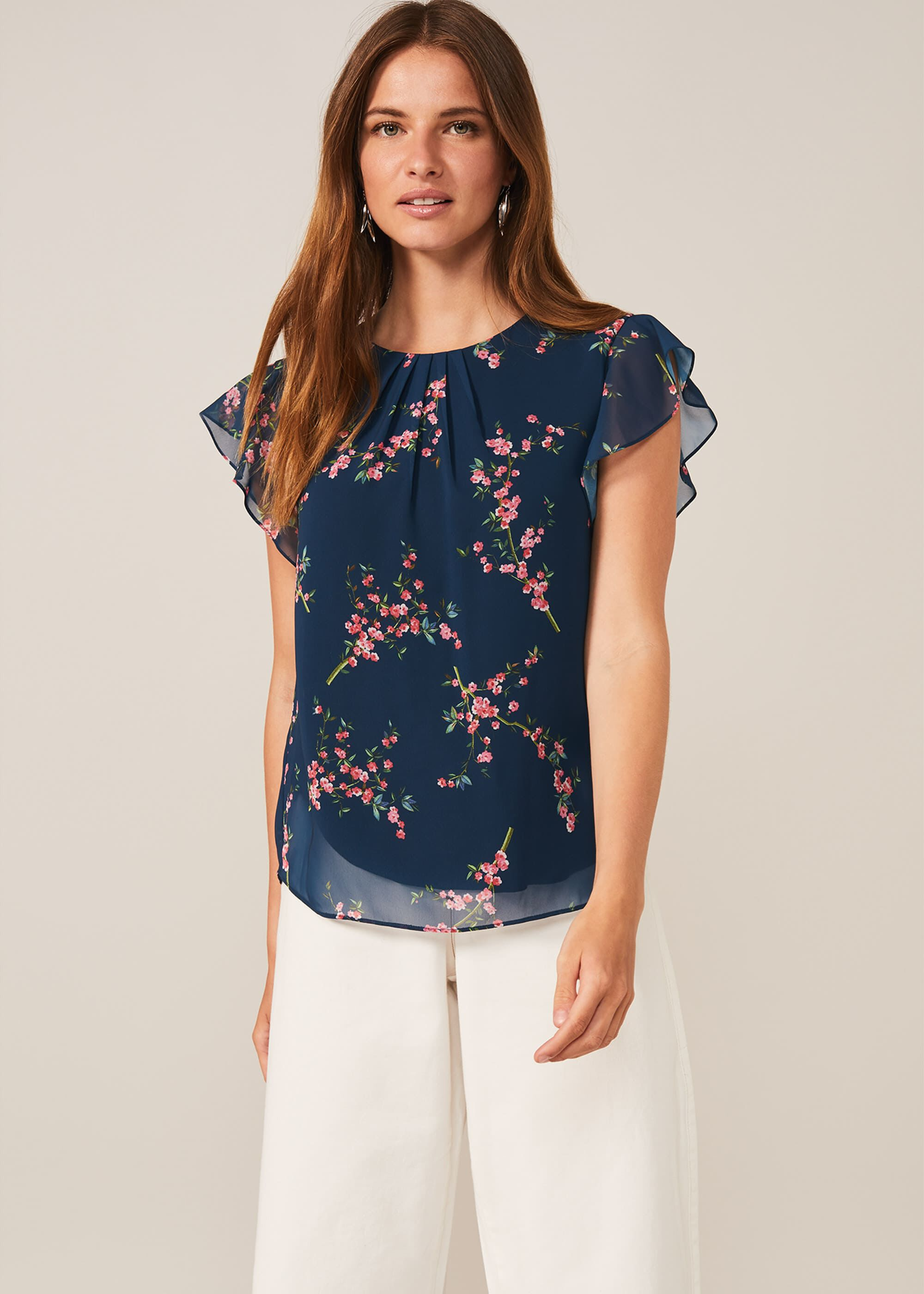 Phase Eight Riley Floral Blouse, Blue, Blouse