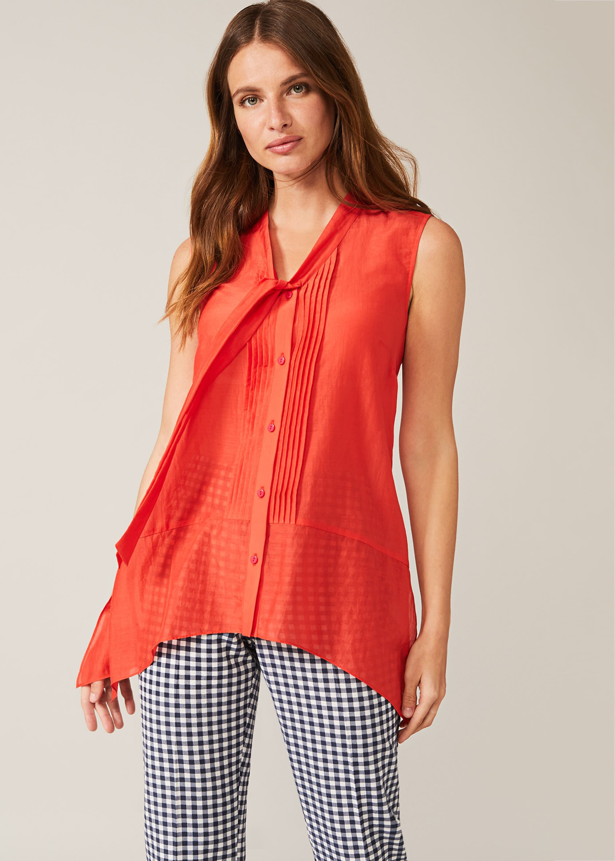 Phase Eight Ysanne Silk Blend Blouse, Red, Blouse