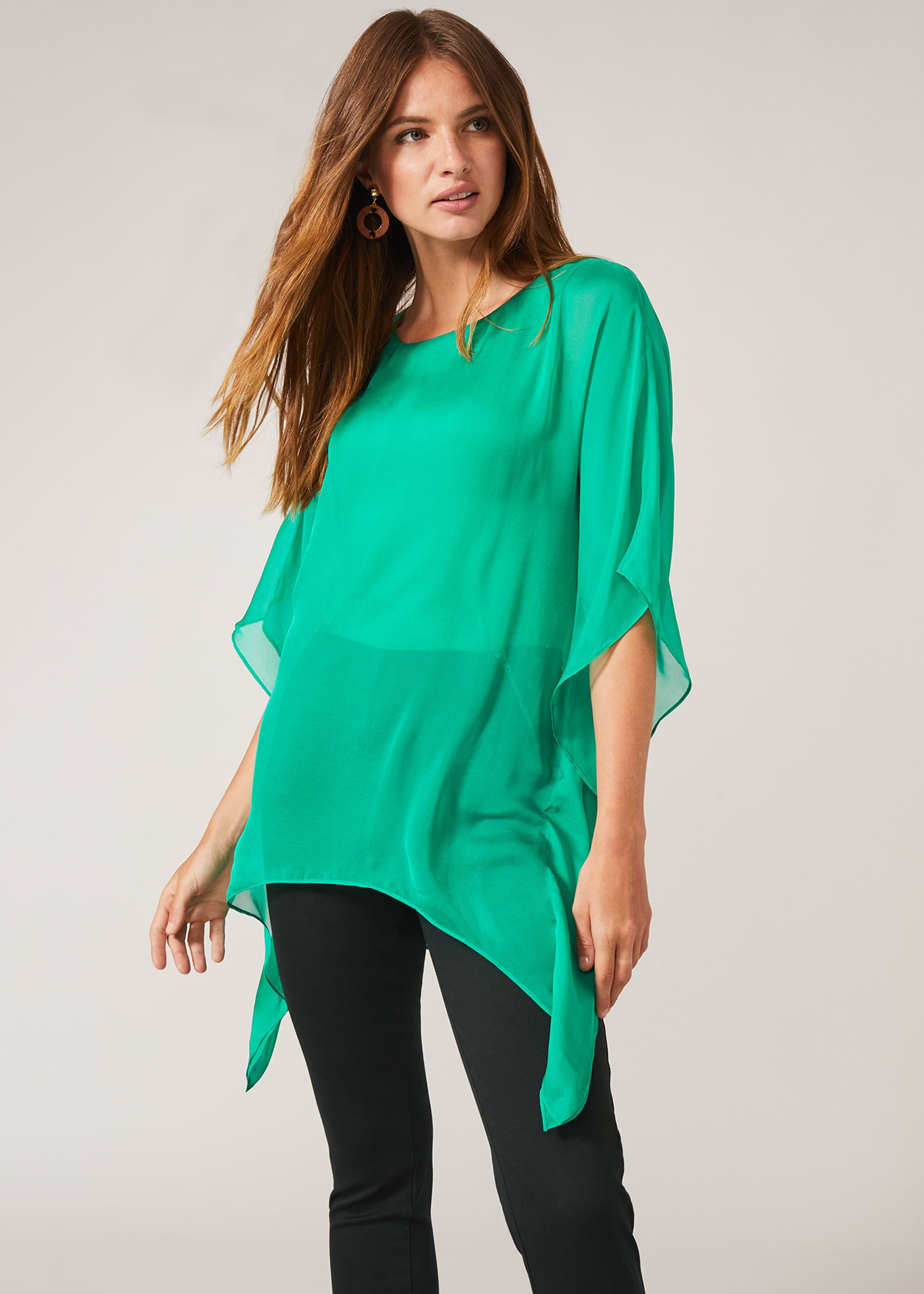 Phase Eight Maggie Silk Blouse, Green, Blouse