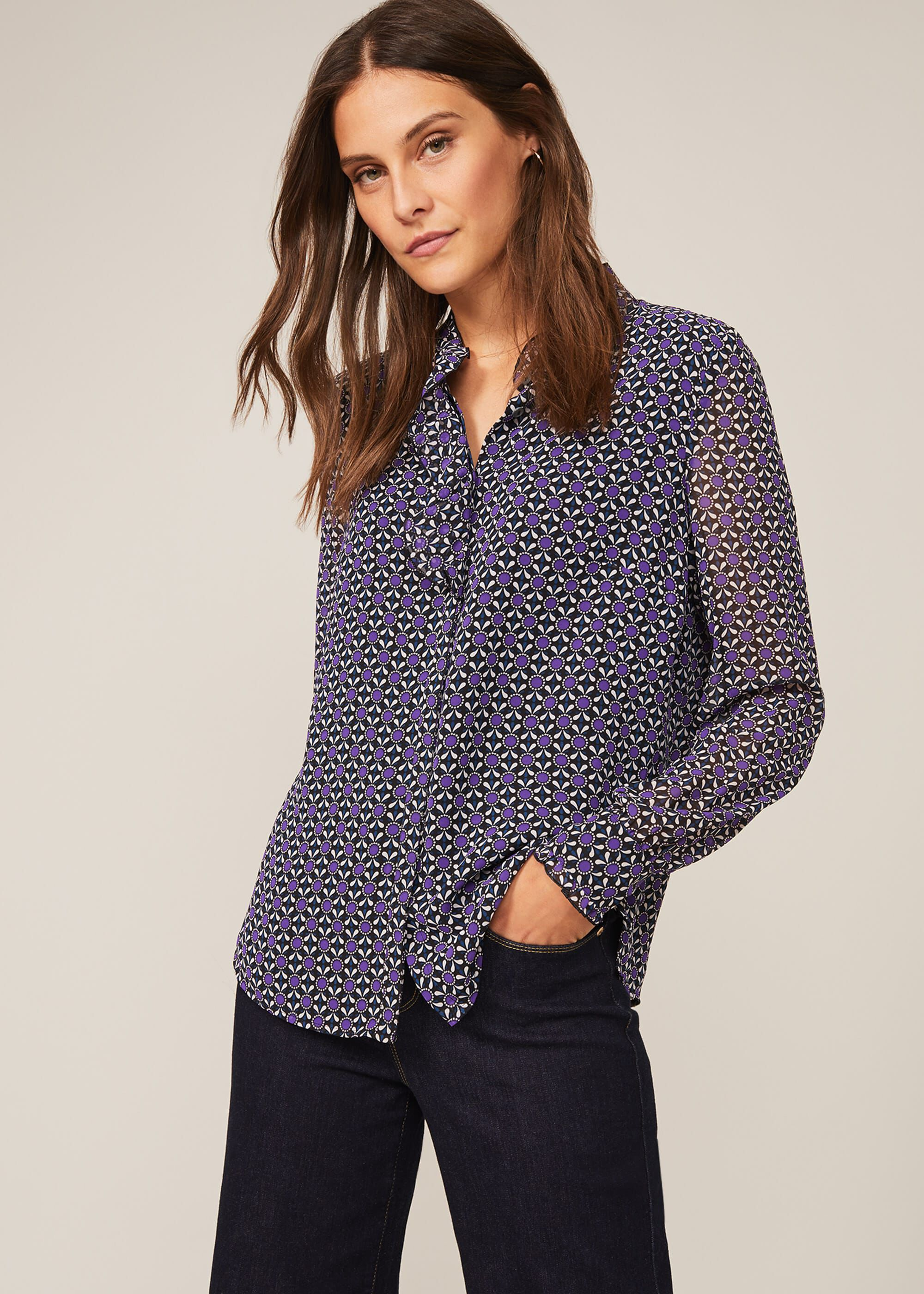 Phase Eight Beatrice Geo Print Blouse, Purple, Blouse