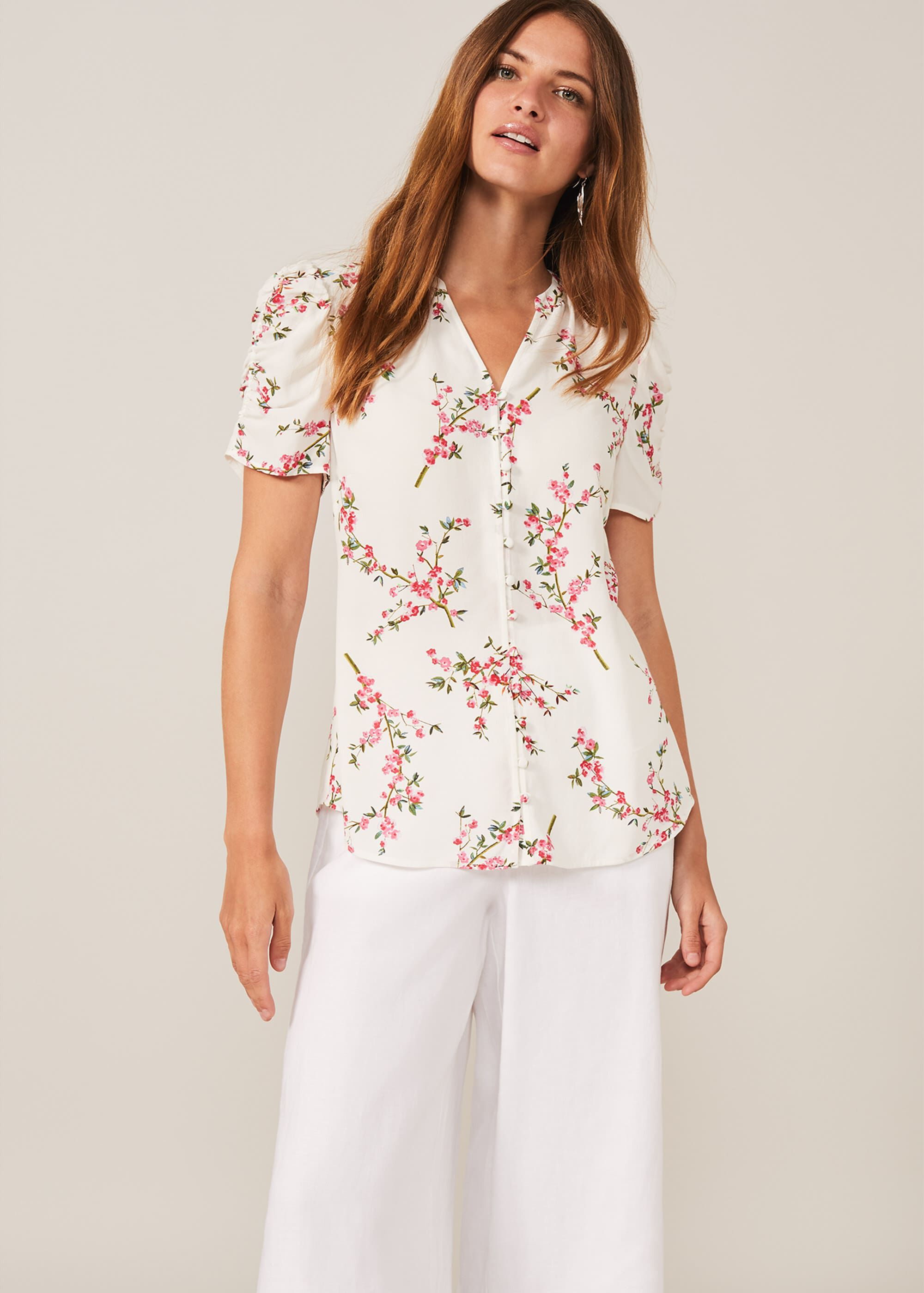 Phase Eight Mae Ruched Sleeve Floral Blouse, White, Blouse