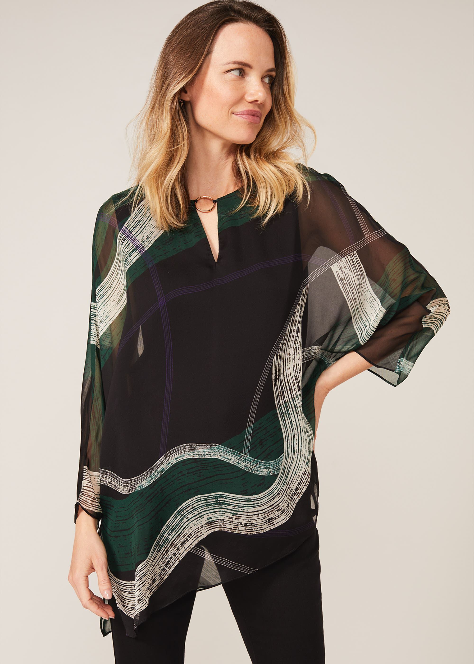 Phase Eight Alyssa Swirl Silk Blouse, Green, Blouse