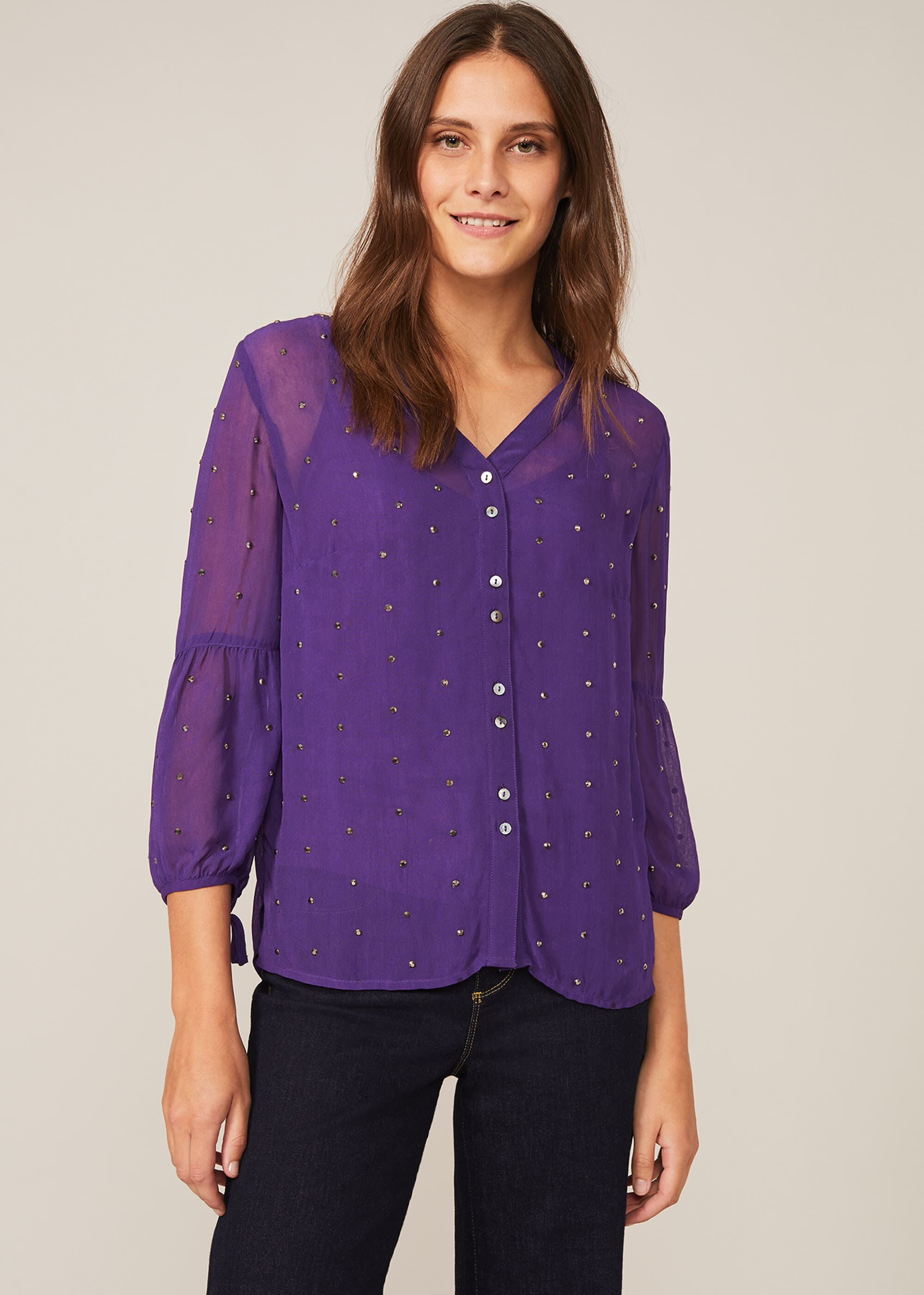 Phase Eight Coray Stud Blouse, Purple, Blouse