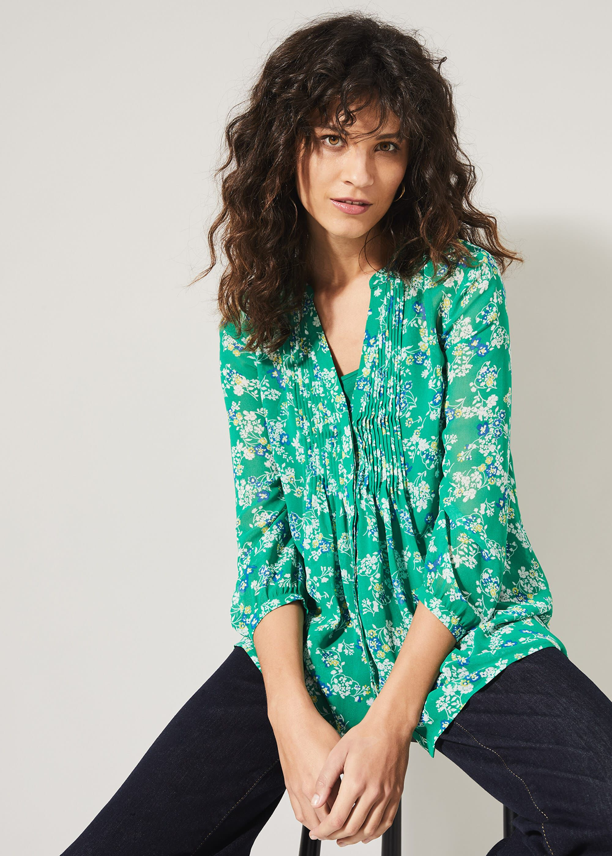 Phase Eight Ida Floral Pintuck Blouse, Green, Blouse