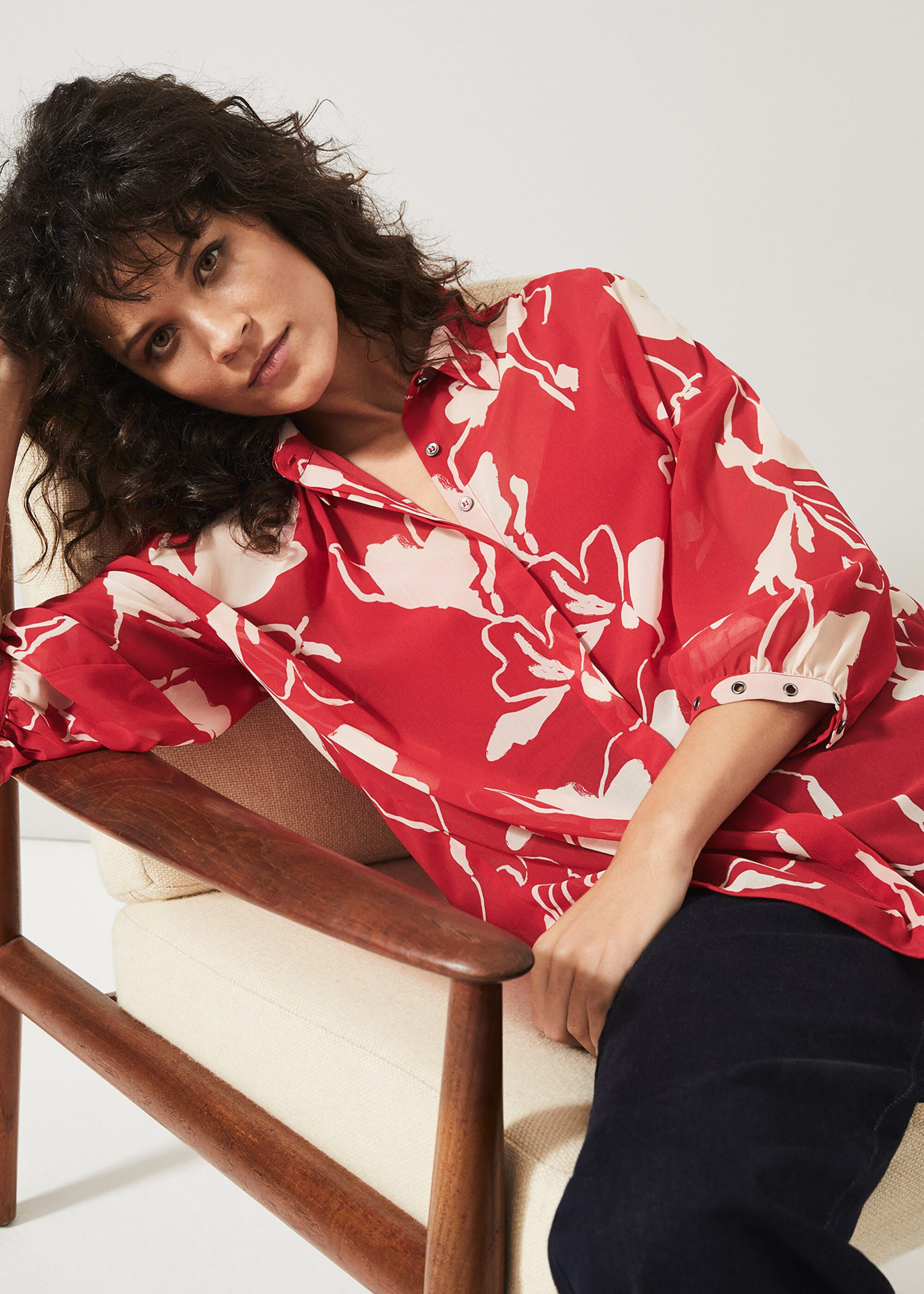 Phase Eight Ali Floral Blouse, Red, Blouse