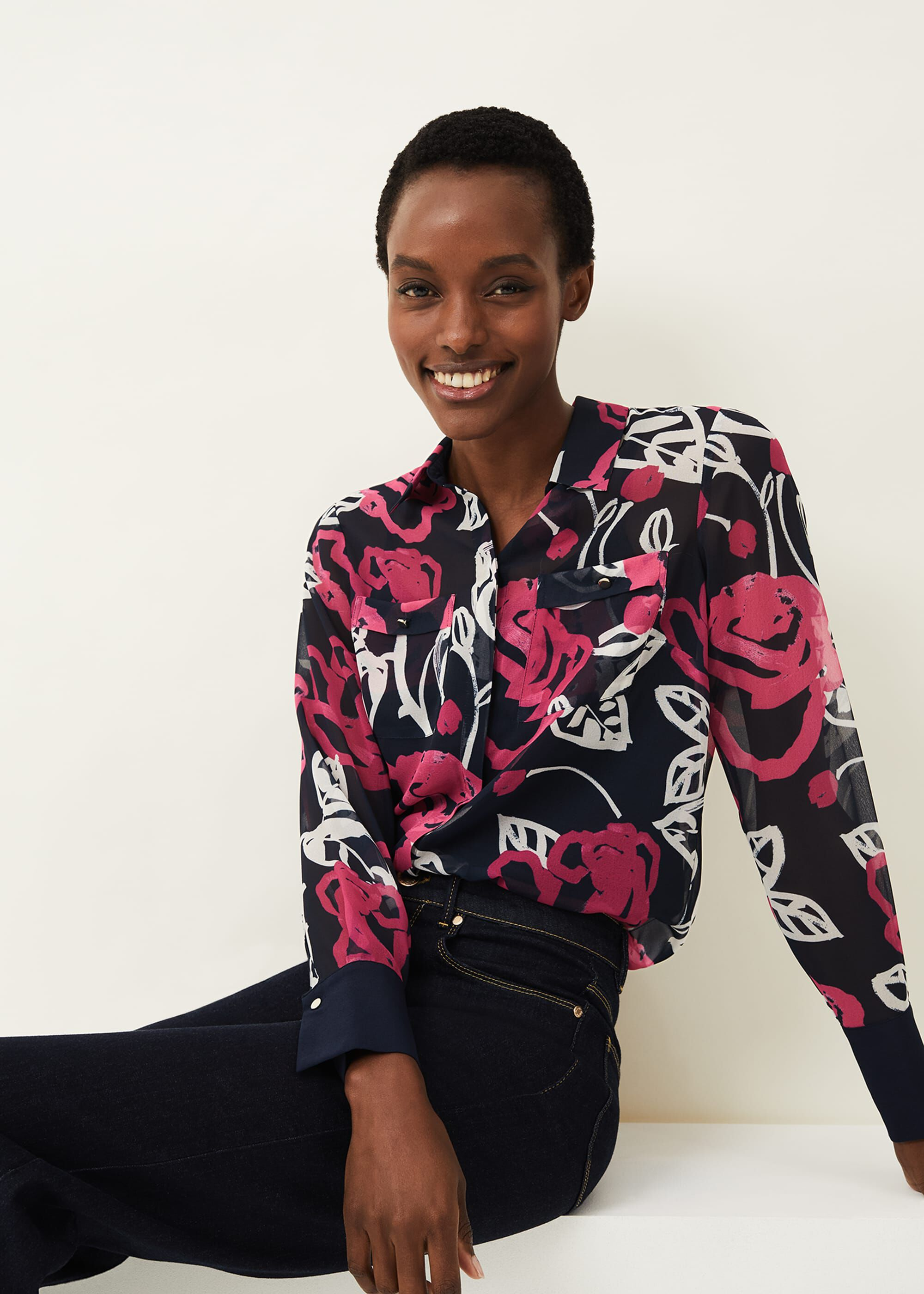 Phase Eight Rose Floral Shirt, Pink, Blouse