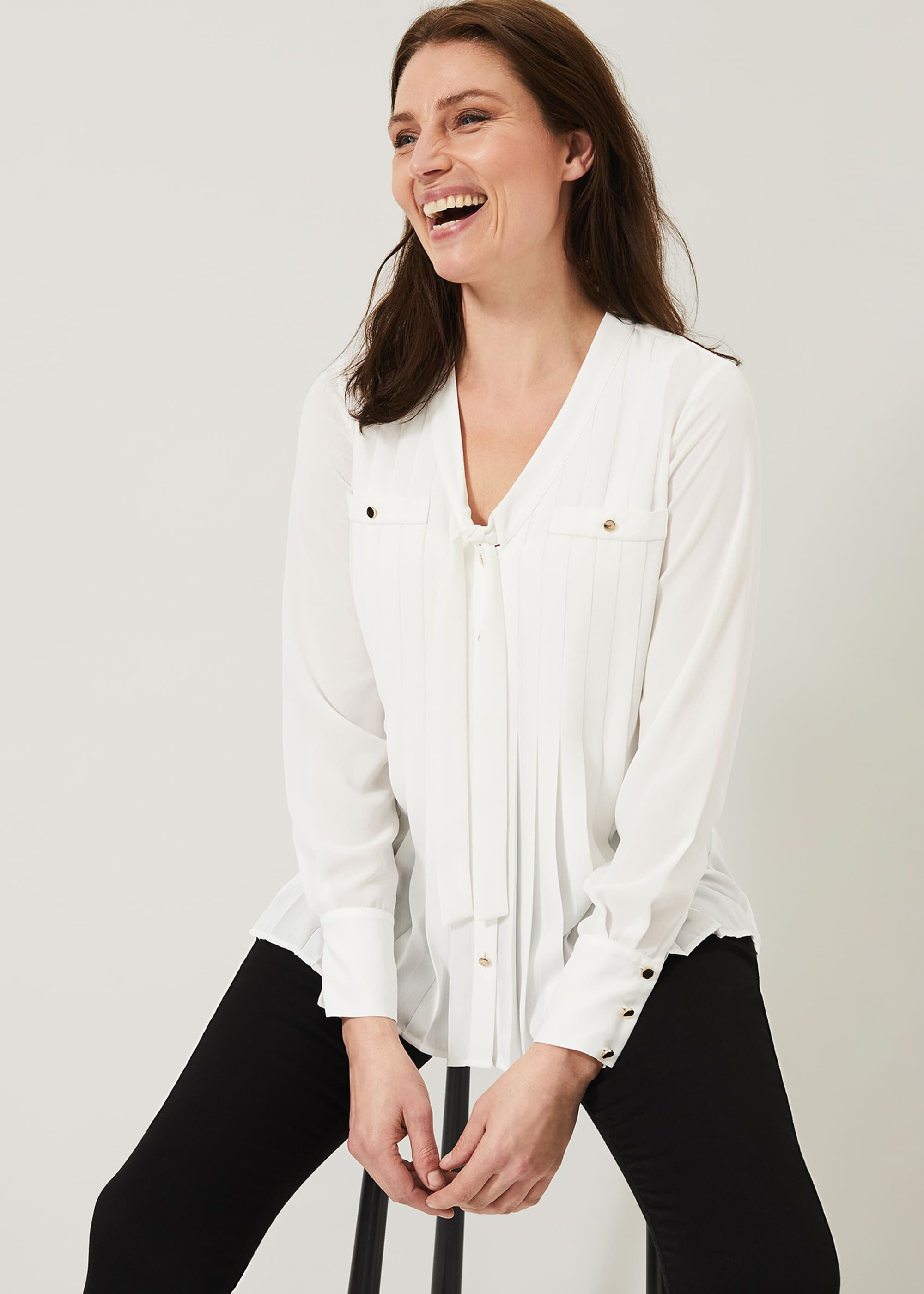 Phase Eight Philippa Pleated Blouse, Cream, Blouse