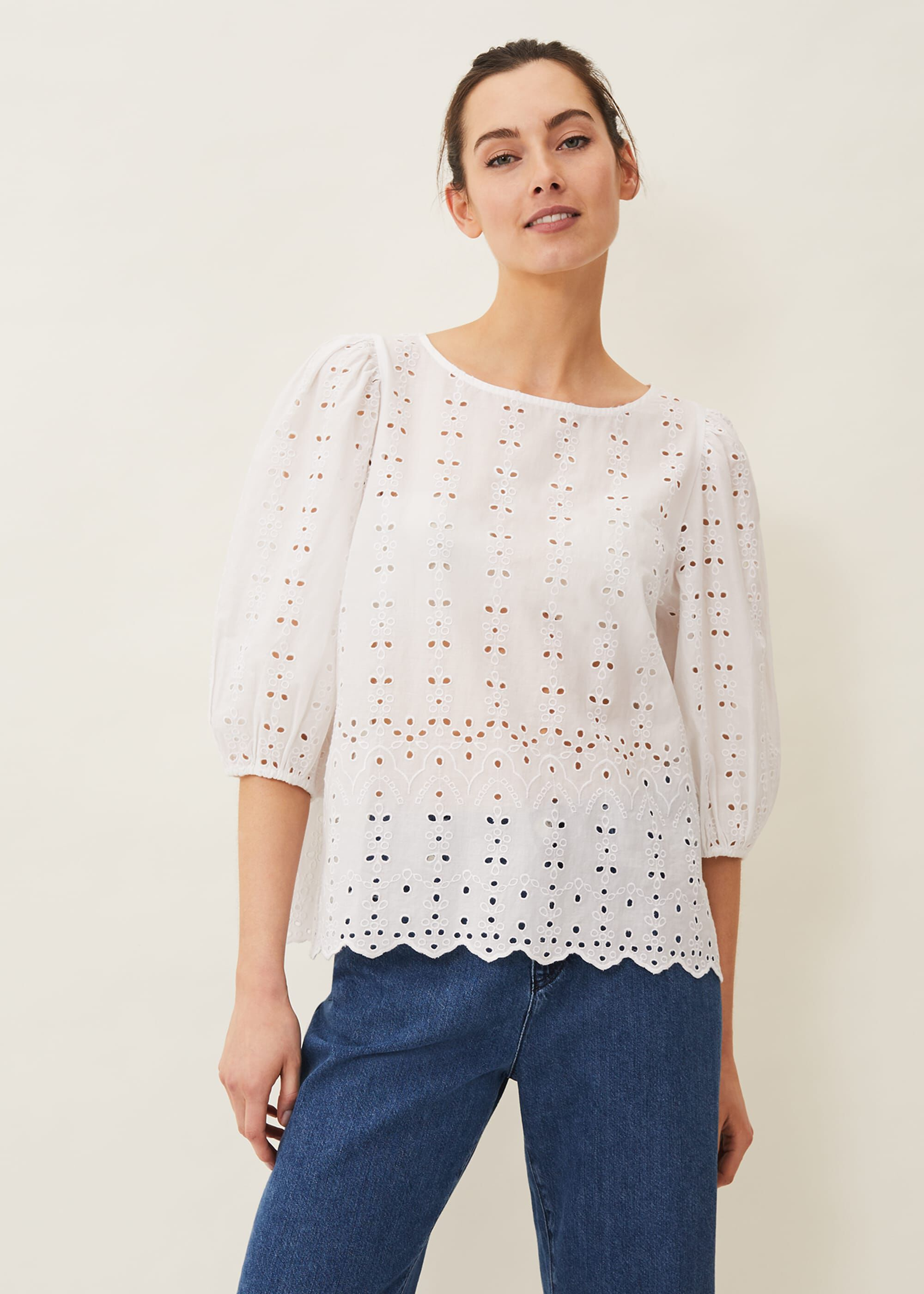 Phase Eight Tameka Broderie Anglaise Top, White, Blouse