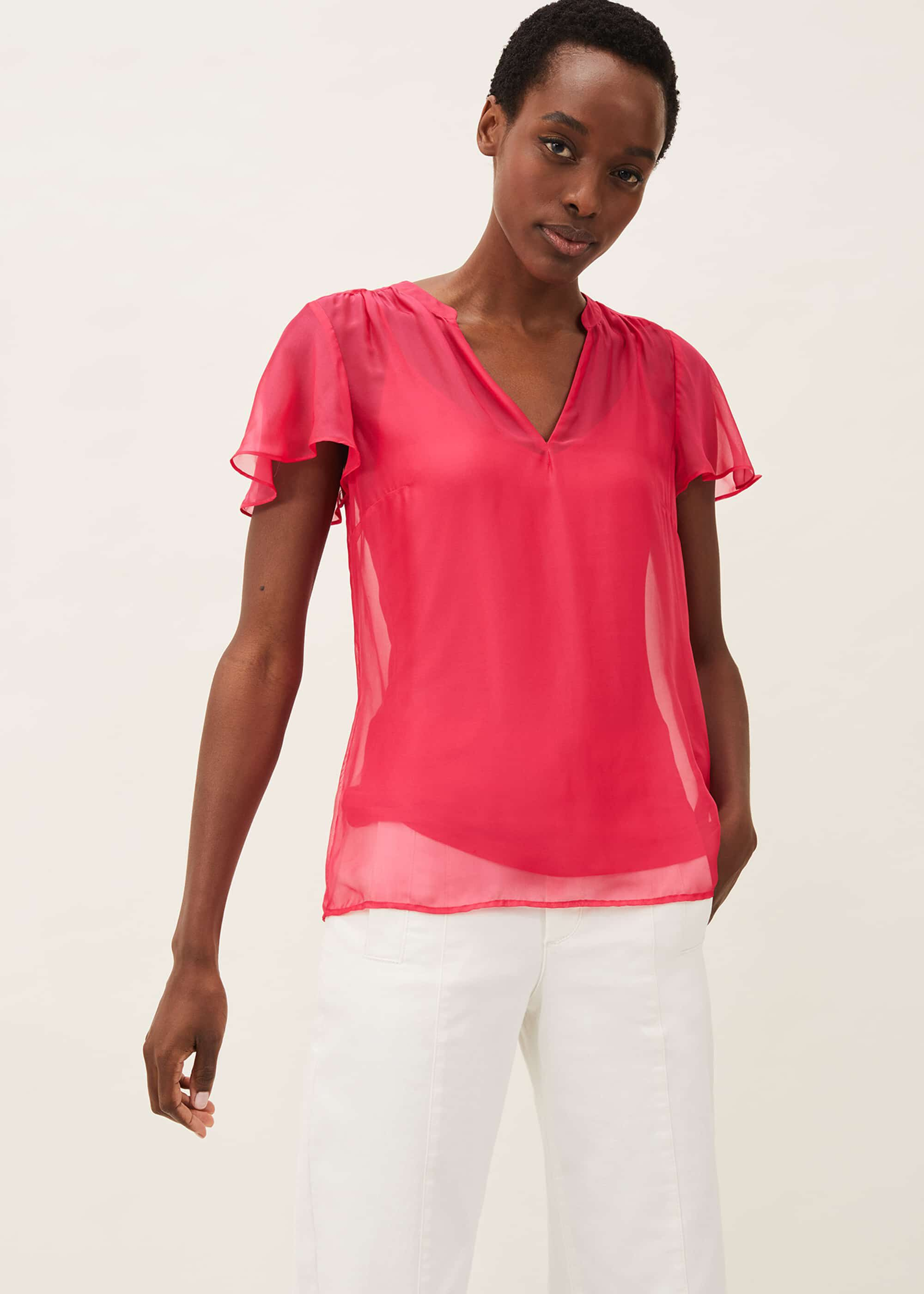 Phase Eight Naya Silk Fitted Blouse, Pink, Blouse