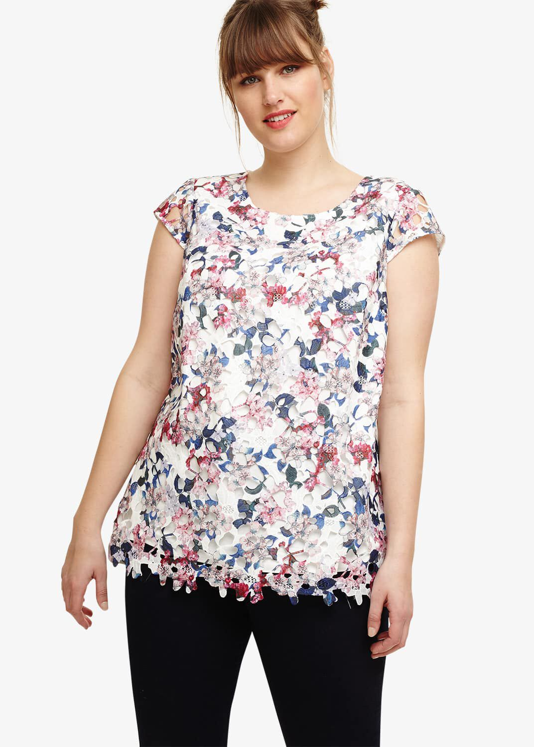 Studio 8 Sunny Printed Lace Top, White, Blouse