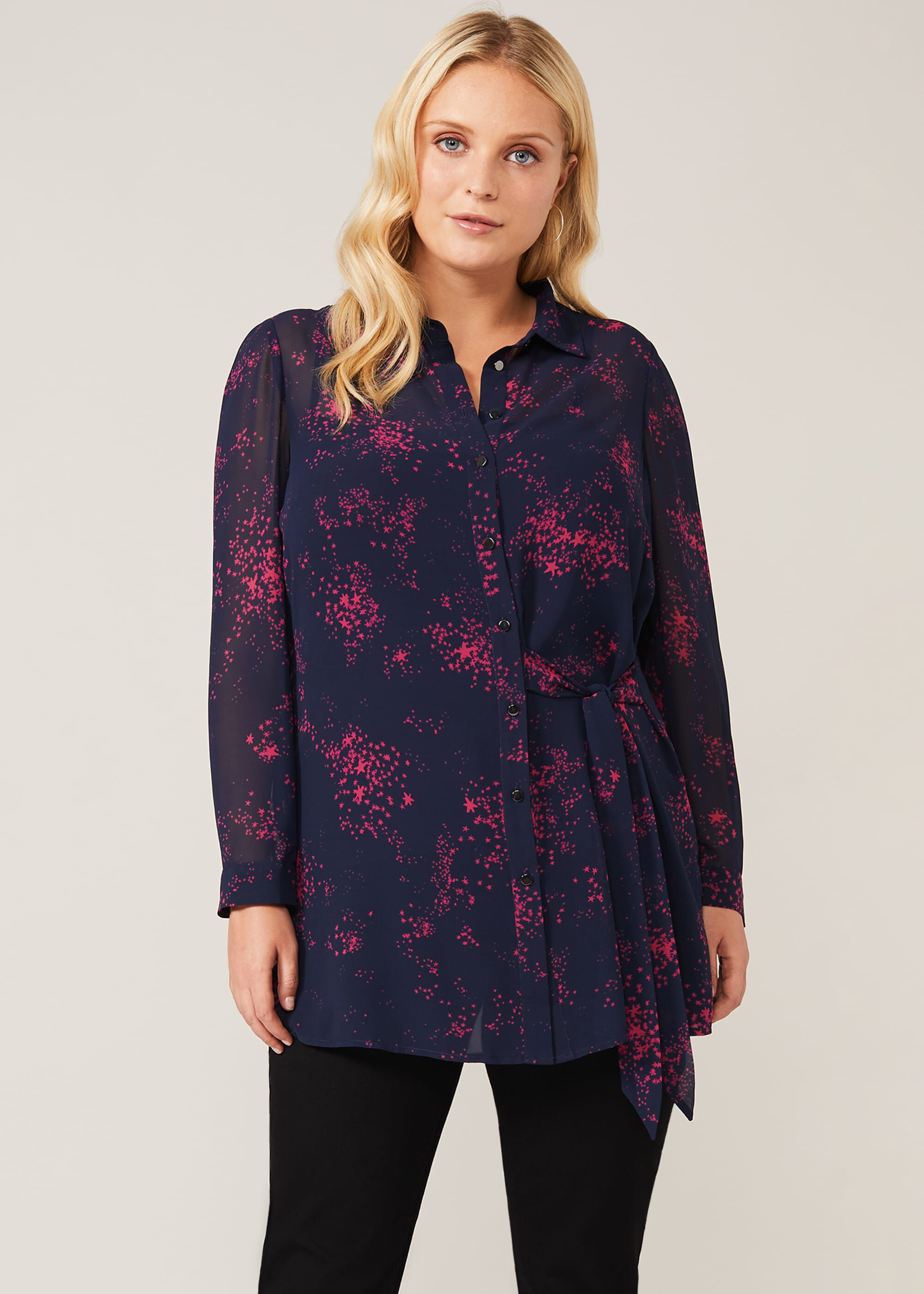 Studio 8 Lucy Star Print Shirt, Blue, Blouse