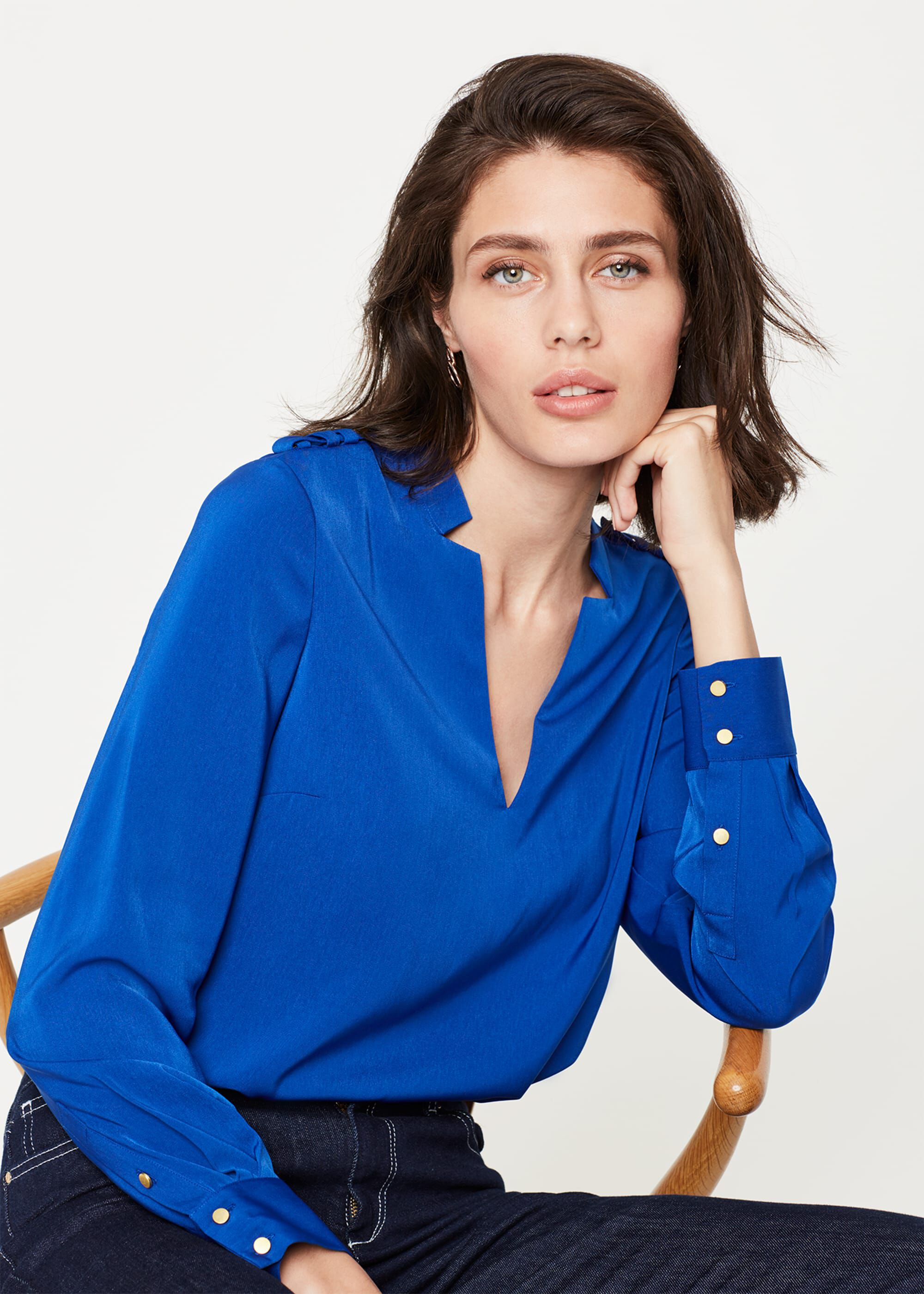 Damsel in a Dress Hailey V-Neck Blouse, Blue