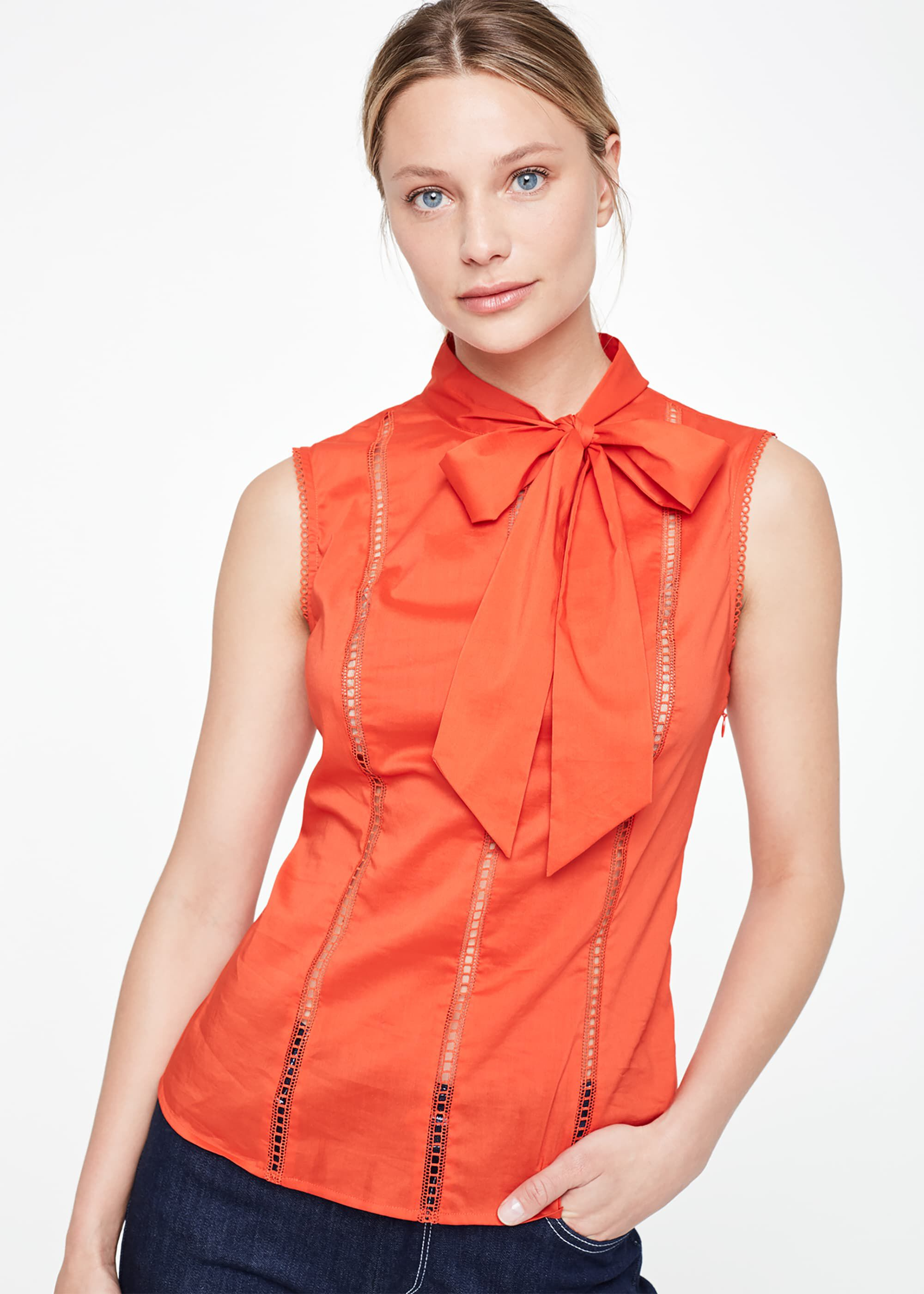 Damsel in a Dress Caydence Cotton Broderie Blouse, Orange
