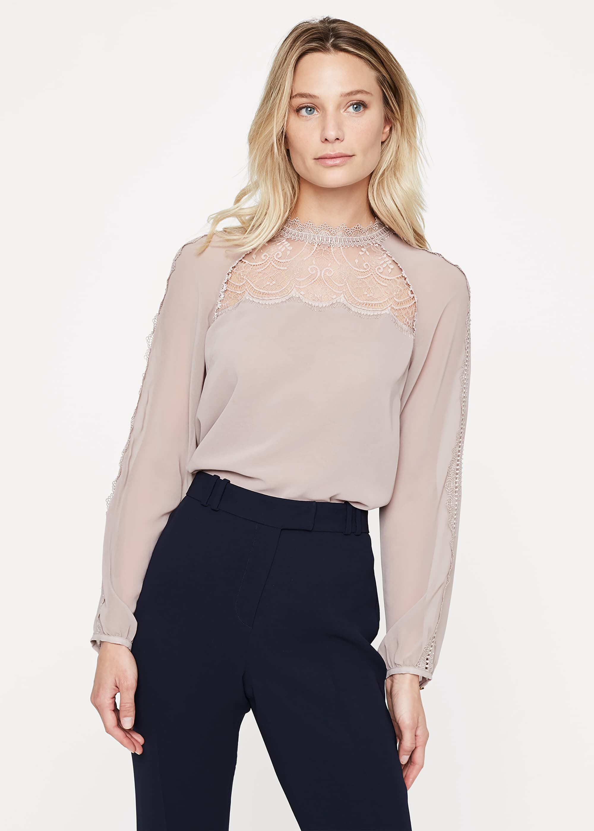 Damsel in a Dress Sania Lace Detail Blouse, Pink
